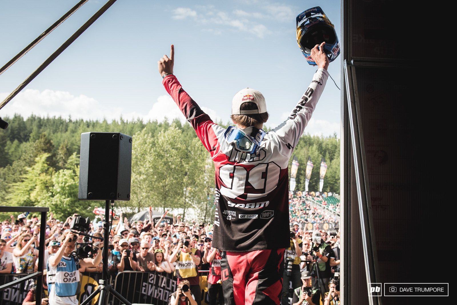 Finn soaks in the electric atmosphere of Fort William on his way to the podium.