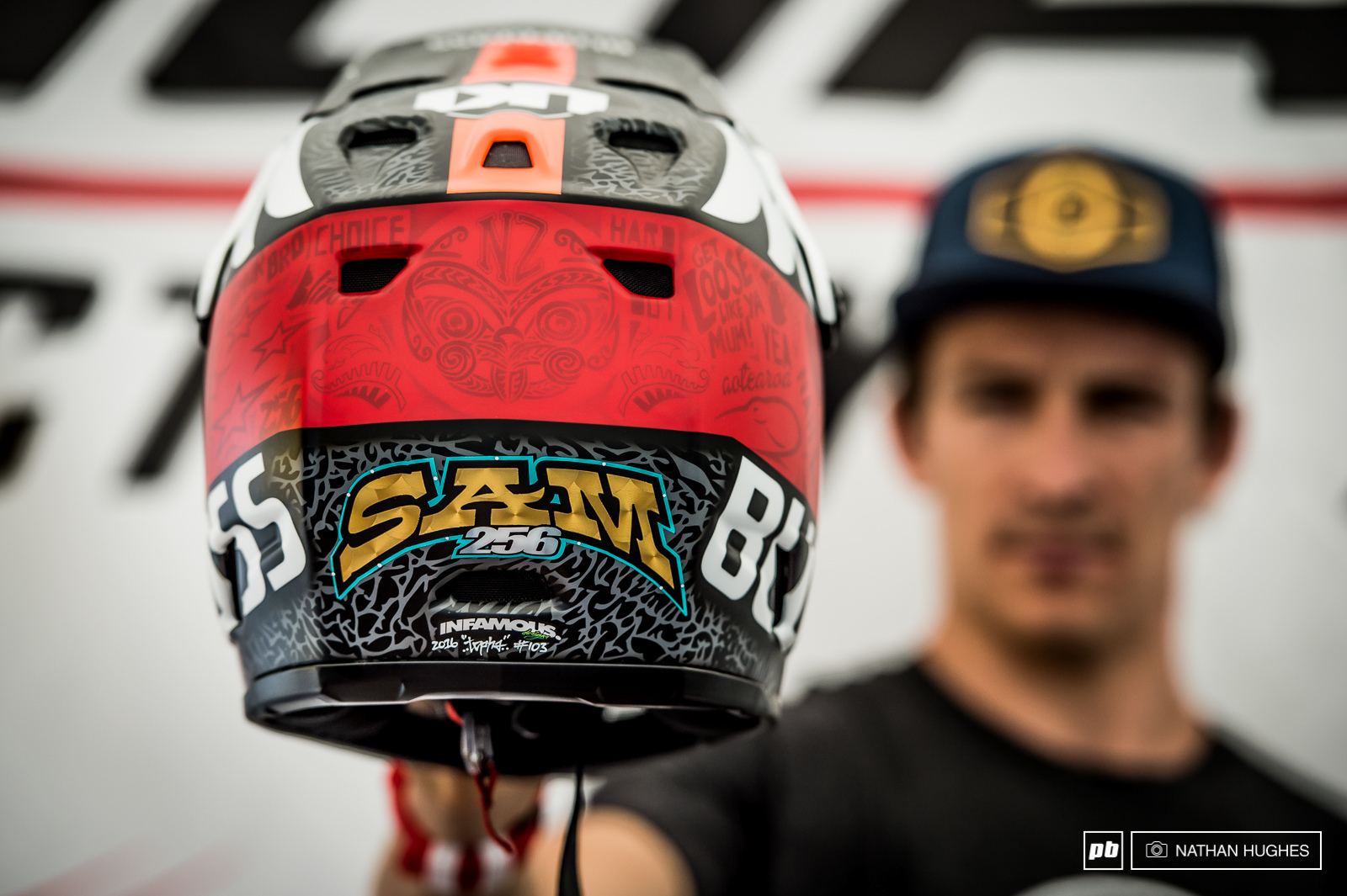 Sam Blenkinsop shows off his new paint with some classic Kiwi sayings and Mauri artwork.