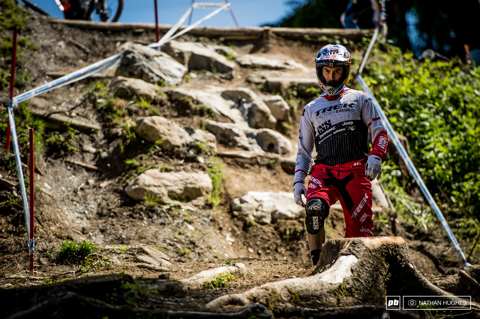 Gee Atherton looking to terminate some heavy lines through the rocks and roots. As ever he was holding the throttle wide open all day.