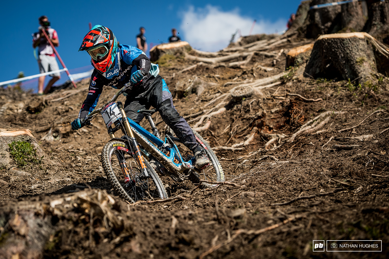 Mondraker s Laurie Greenland was hard at it in the roots today and will be pushing harder than ever to bring that plate number inside the top ten starting tomorrow.