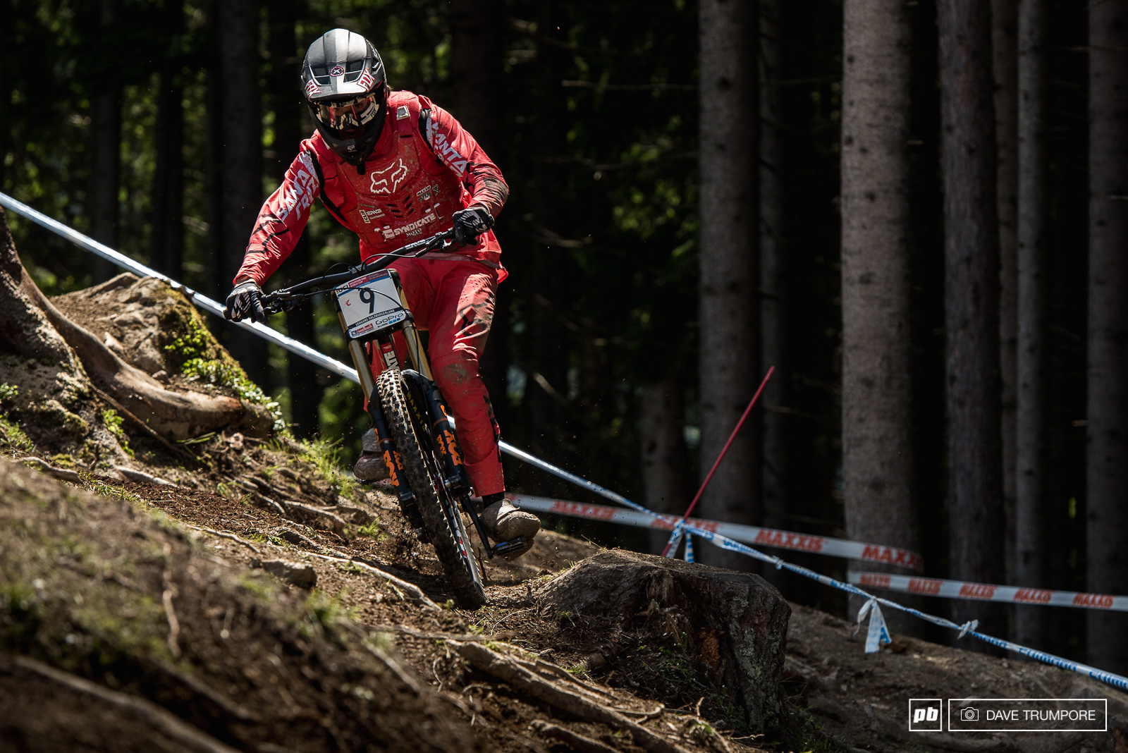 Josh Bryceland leans it into the off camber and rooted out clear cut section of the track.