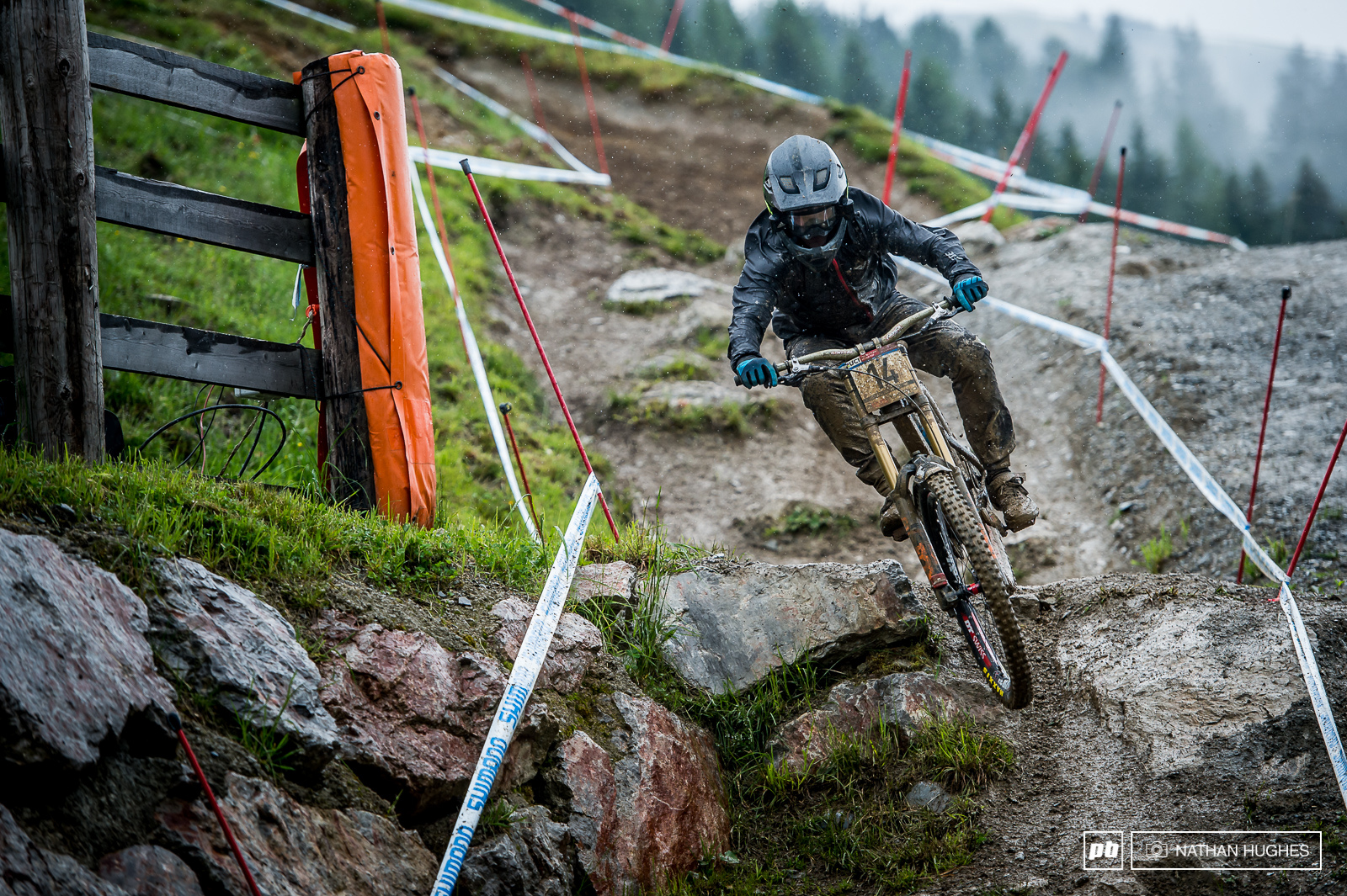 Mondraker s Laurie Greenland had a bit of a nightmare up there on track today coming off and riding home dead last... Not the end the end of the world though as a protected rider. Tomorrow its on.