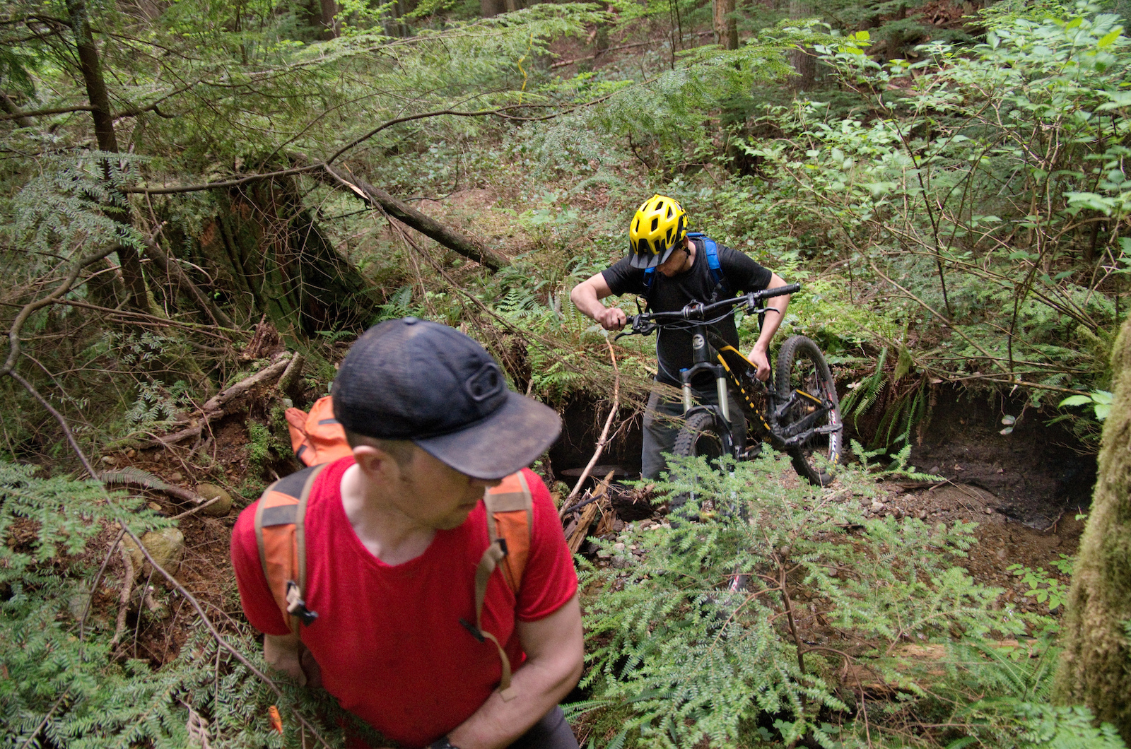 While the exit was in the middle of nowhere and the entrance was hidden to prevent inadvertent damage to the unfinished trail the builders were careful to not be seen. They went in and out when no one was around carried their bikes and took many different routes to minimize damage to the surrounding forest.
