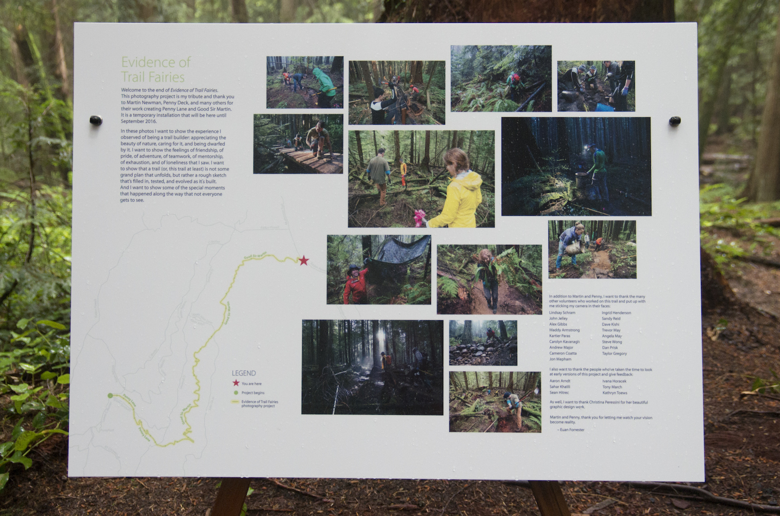 We placed several informational posters along the trail to describe the project and help guide people to see the entire installation.