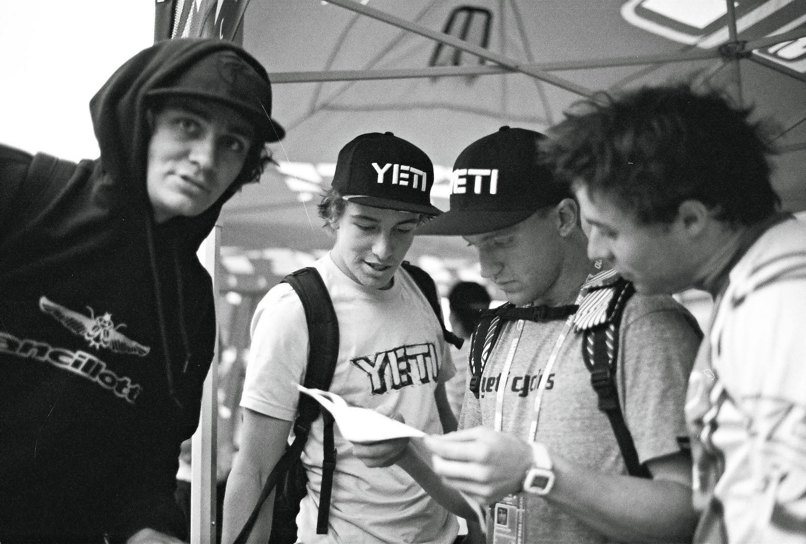 The 2009 YETI team with Sam Blenkinsop Aaron Gwin Jared Graves at the World Cup Pietermaritzburg South Africa. Aaron Gwin is checking his qualification results. Shot with LEICA M6 35mm f 1.4 Summilux