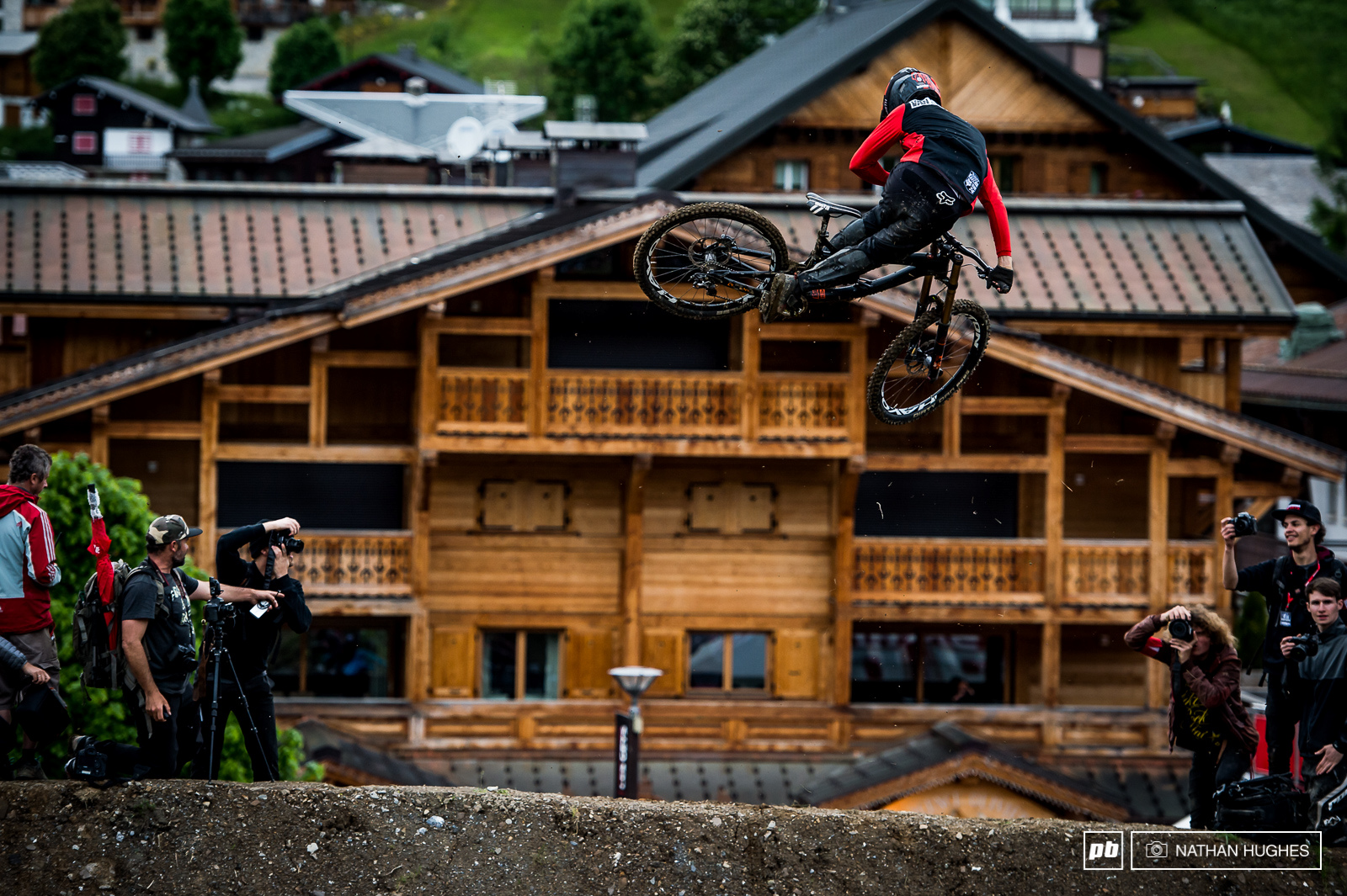 Bas Van Steenbergen making all the right shapes infront of Les Gets real estate.