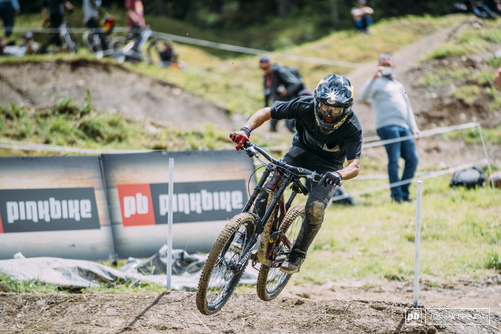 Louis Reboul rides his downhill Scott Voltage on the Speed and Style course.