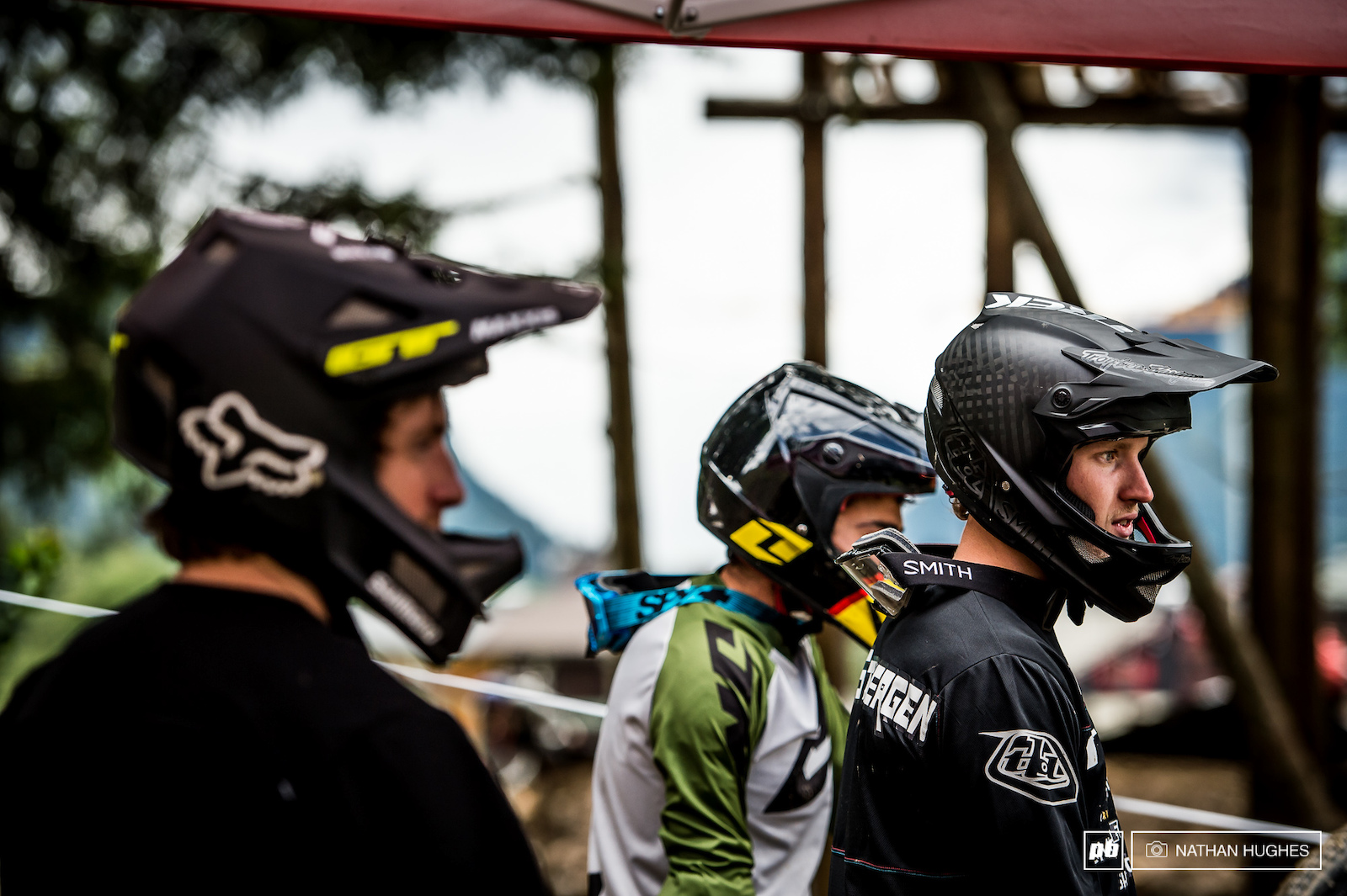 Van Steenbergen and T-Mac watch on as their fellow competitors throw down.