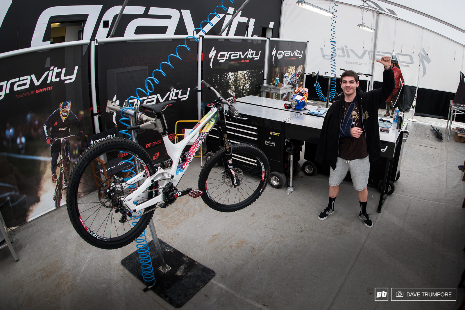 Still in a sling Loic Bruni is here and pumped to see his friends take on this beast of a DH track.