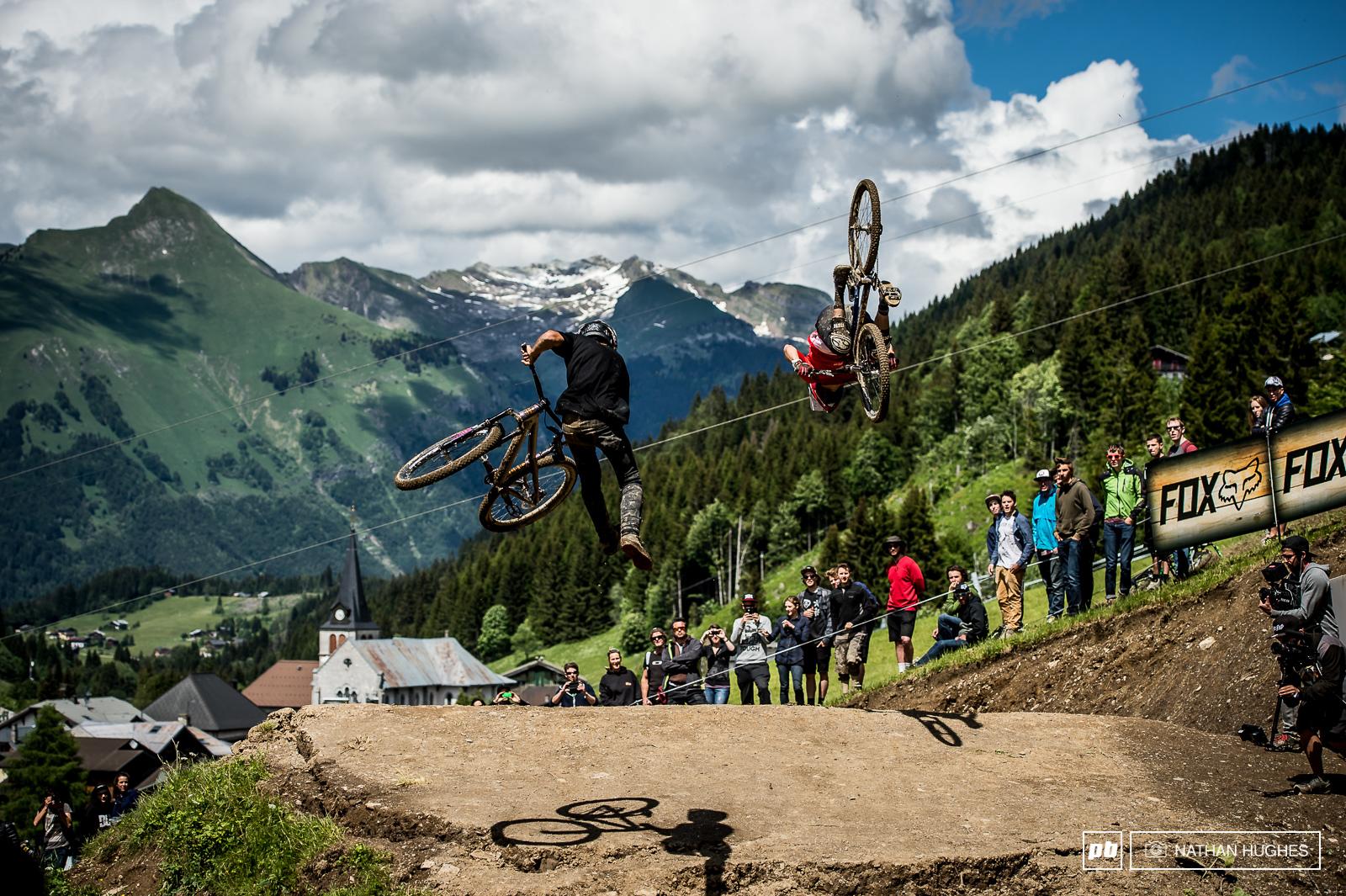 Louis Reboul tail-whips while Adrien Loron flips.