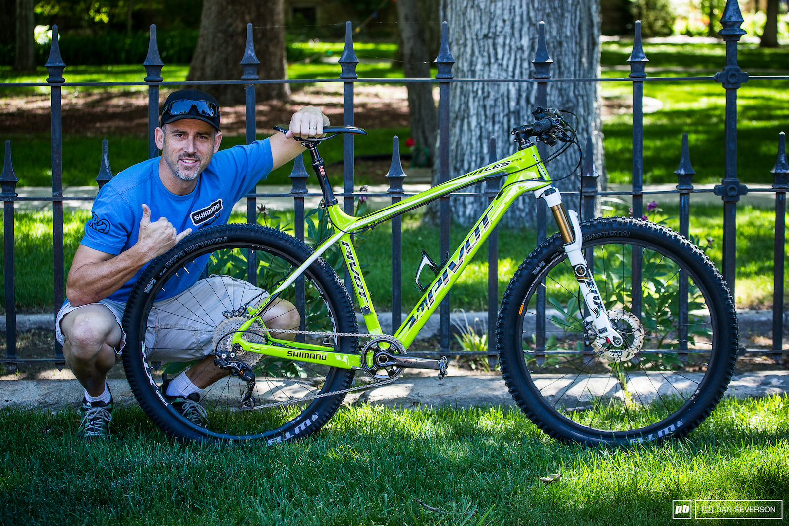 Joe Lawwill takes a minute to show off his Shimano equipped backcountry weapon that he will be racing on Sunday.