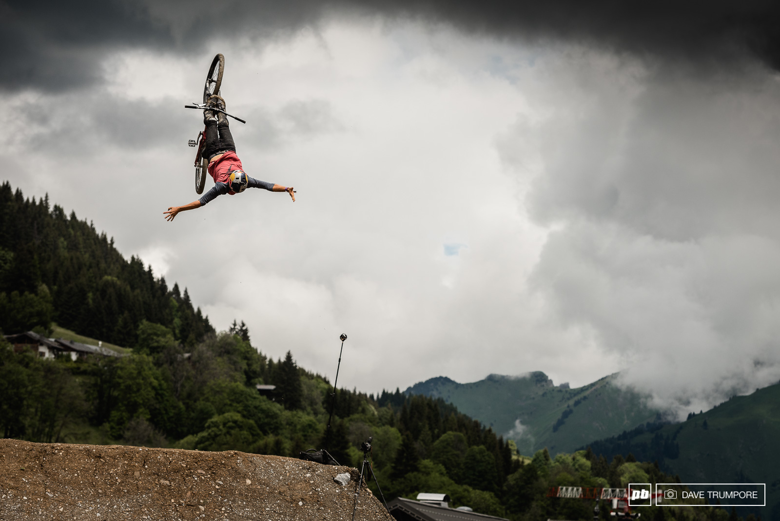 Szymon Godziek threw down the first crazy trick of the day with this backflip cliffhanger.