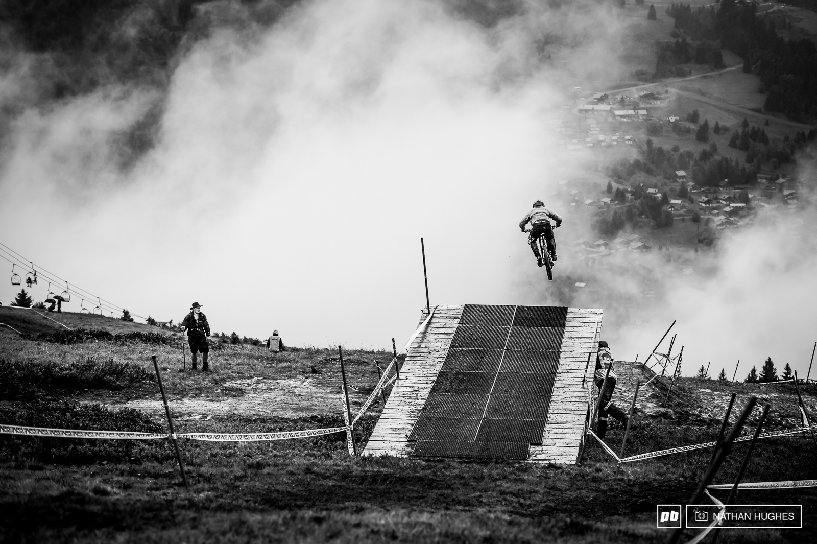 Flying into the fog in the early morning session.