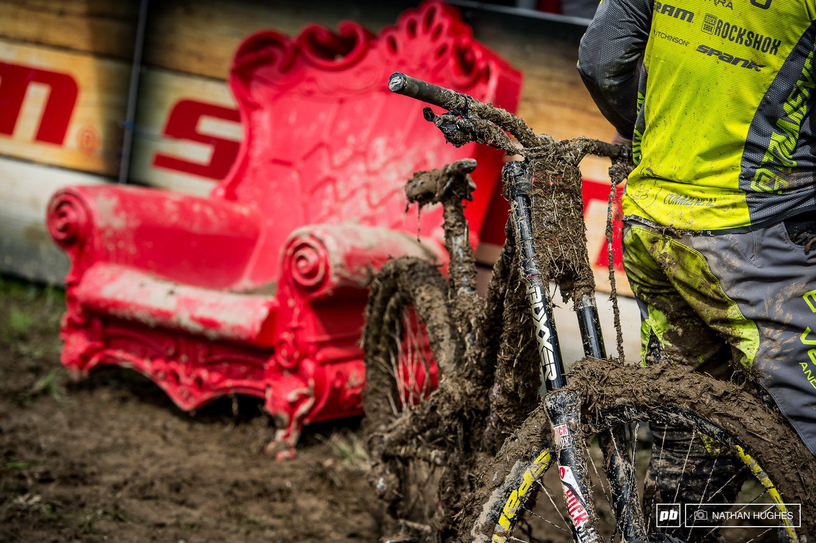 Thirion s race machine tired and muddied from battle in front of the hotseat.
