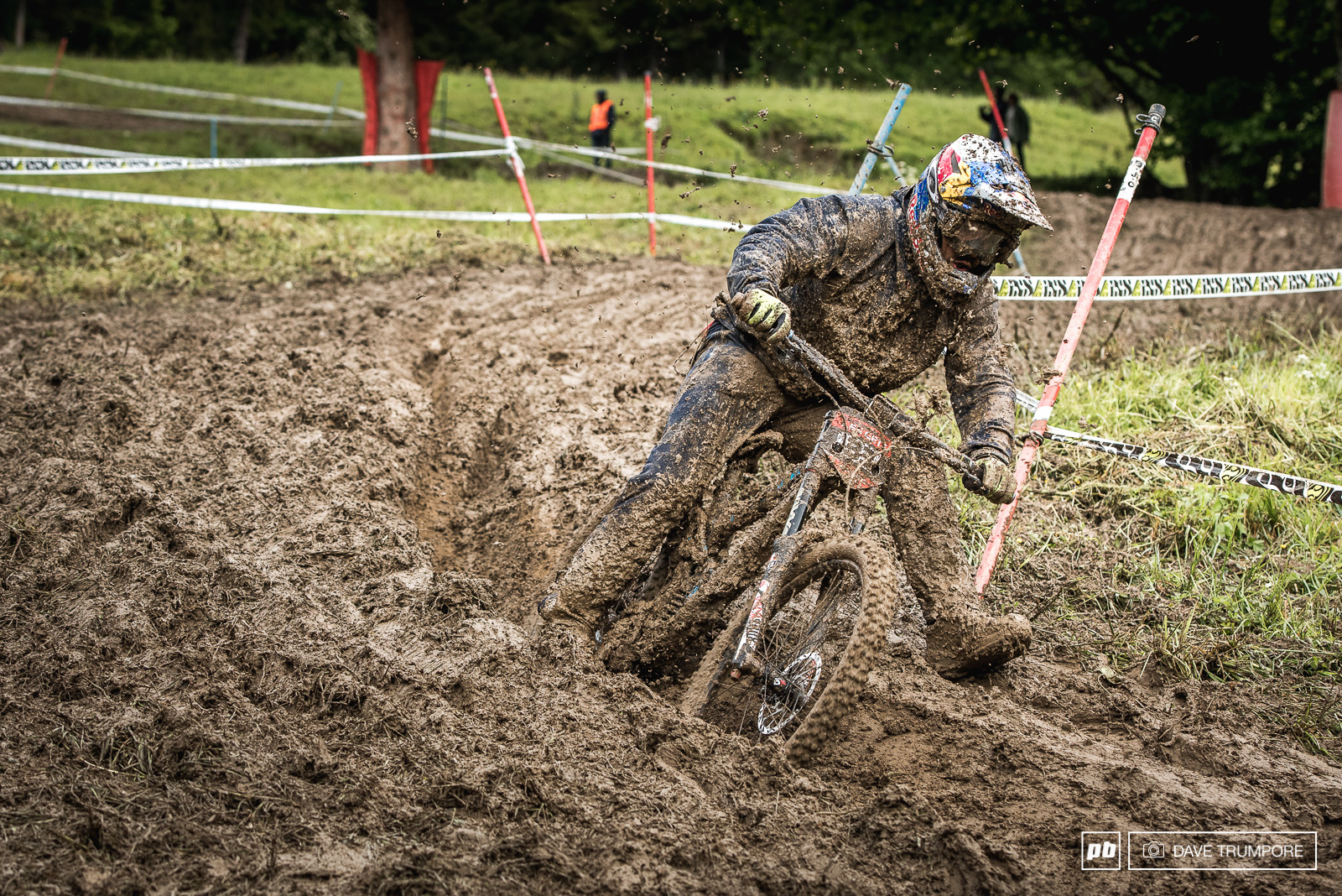 Marcelo goes full moto wishing he had a throttle though to get across the boggy bits lower down.