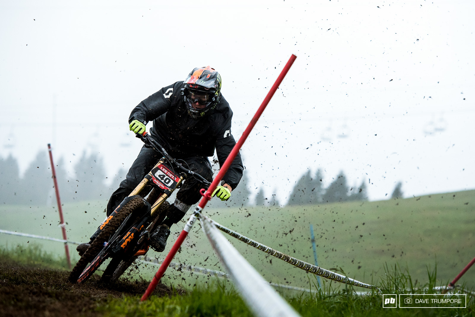 Brendan Fairclough fully committed through this super high speed muddy turn right out of the gate.