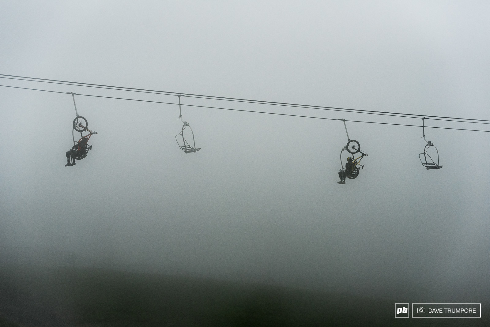 Above the gondola riders had to endure a slow and cold chairlift ride to access the top of the track on Mont Chery.
