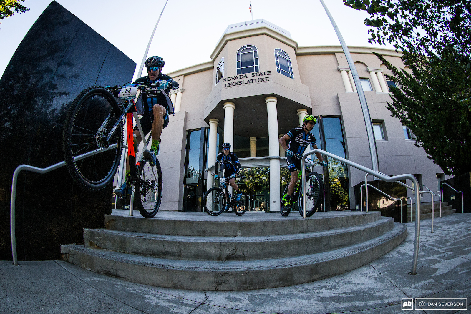 This is what happens when you give mountain bikers the key to the city. Giant Factory riders Carl Decker Adam Craig and Stephan Davoust wreak havoc on the steps of the State Legislature building.