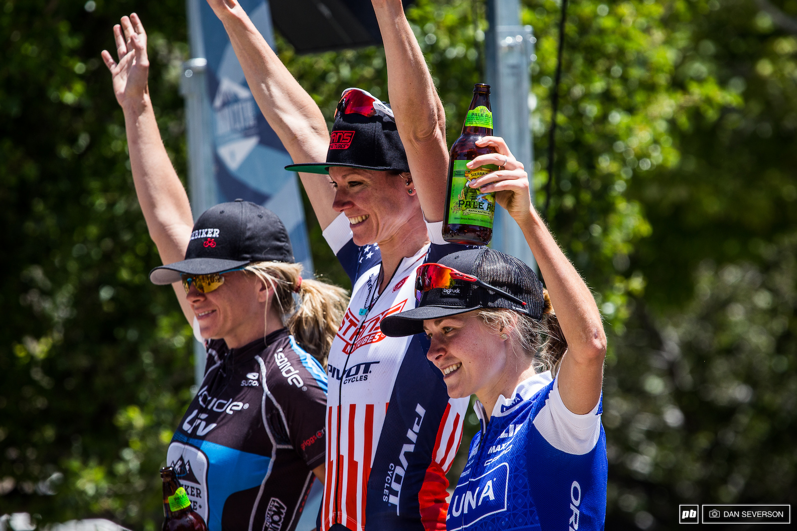 Rose Grant Amy Beisel and Maghalie Rochette celebrate as the top three winners of the race series.