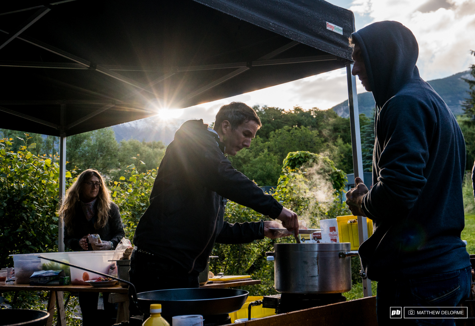 The TP staff have have hot breakfast and dinner waiting every morning and evening. The amount of food they churn out for the riders and staff is mind boggling. They keep us going strong.