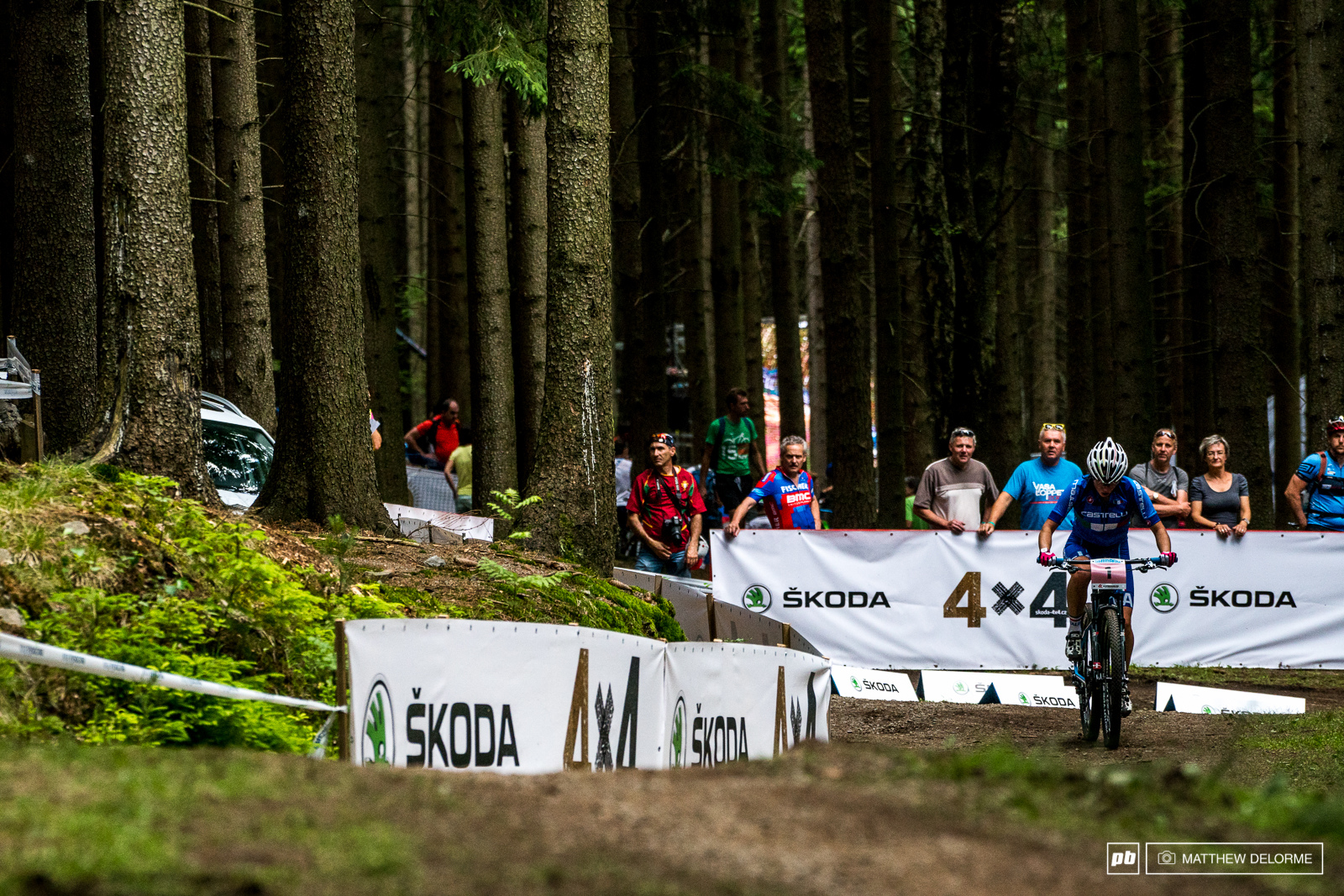 Martina Berta mashing up one of the climbs to second place.