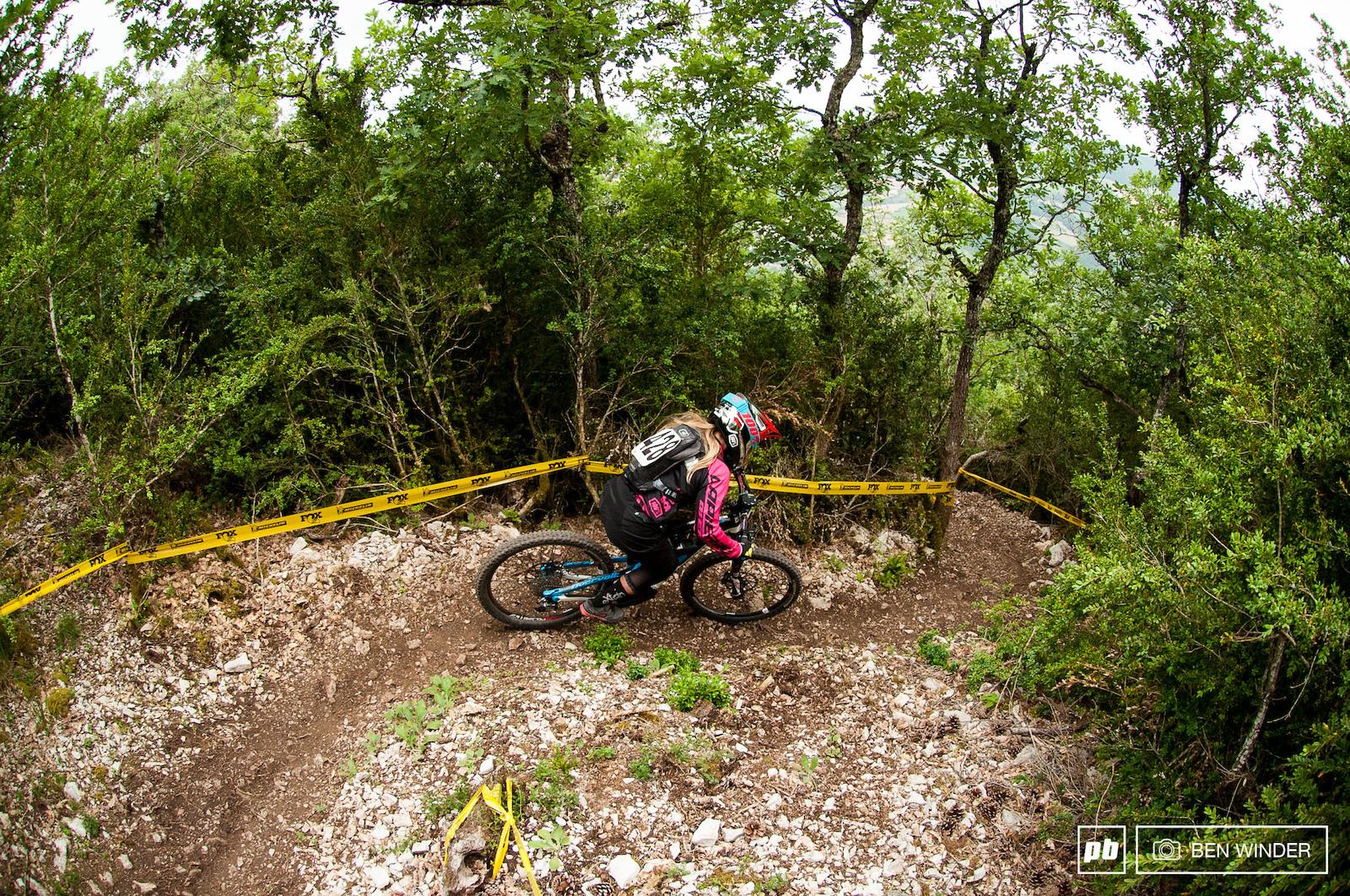 Chloe Gallean in amongst the steep loose rock of stage 2.