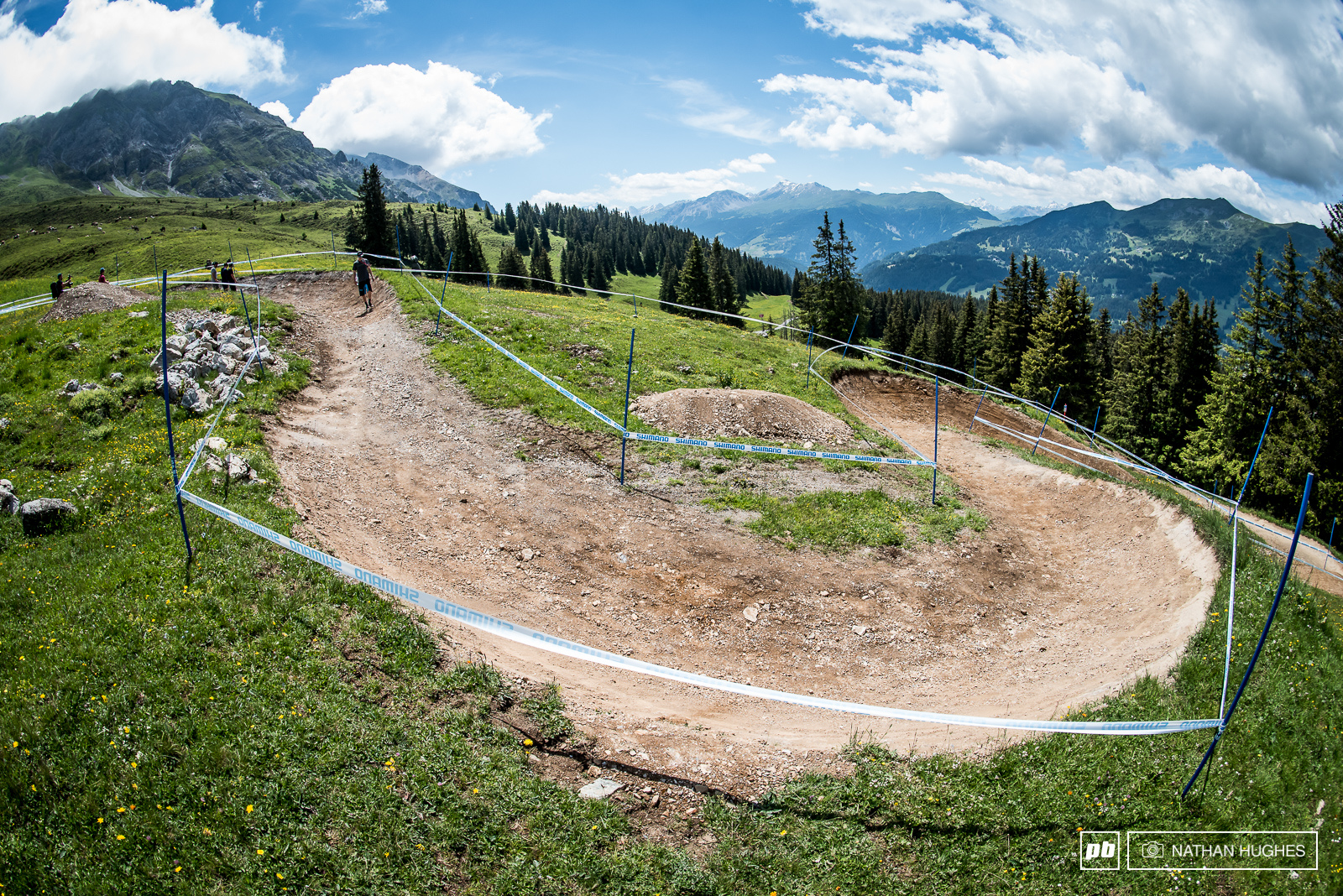 Freshly shaped berms await riders right out of the gate.
