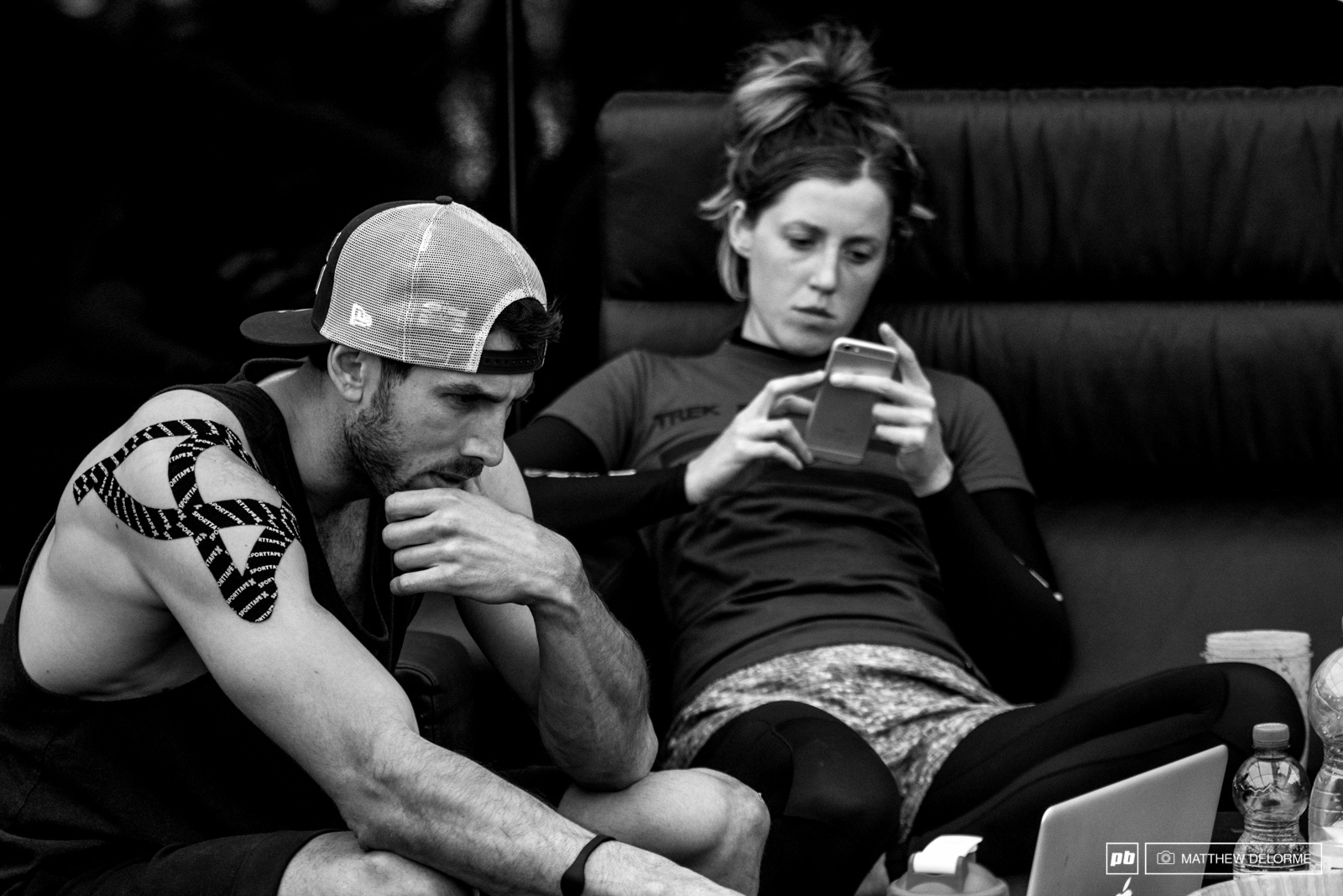 Gee does a little post practice GoPro footage reviews while Rach takes a little time to relax.