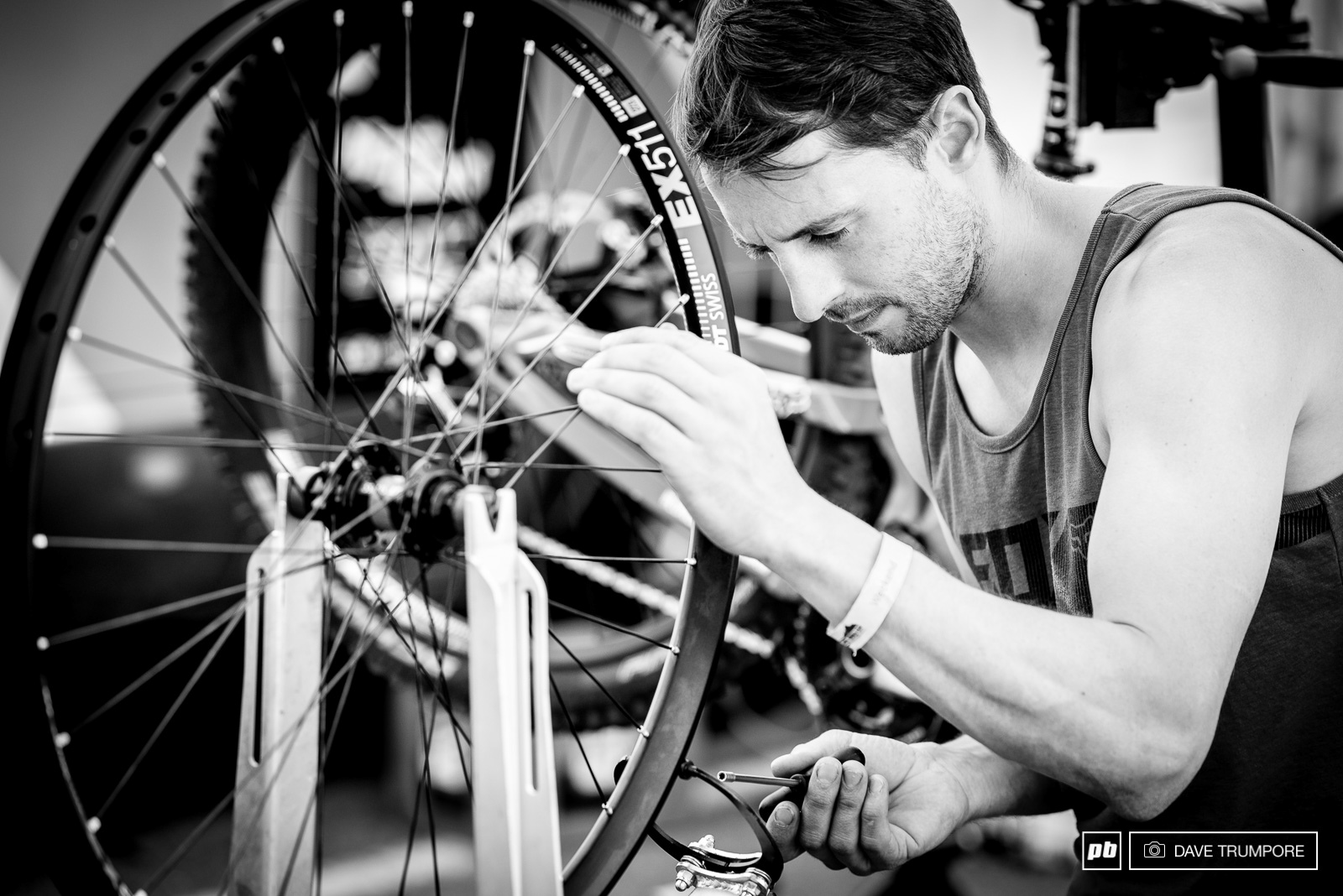 High speed and big rocks means lots of wheel building for the mechanics.