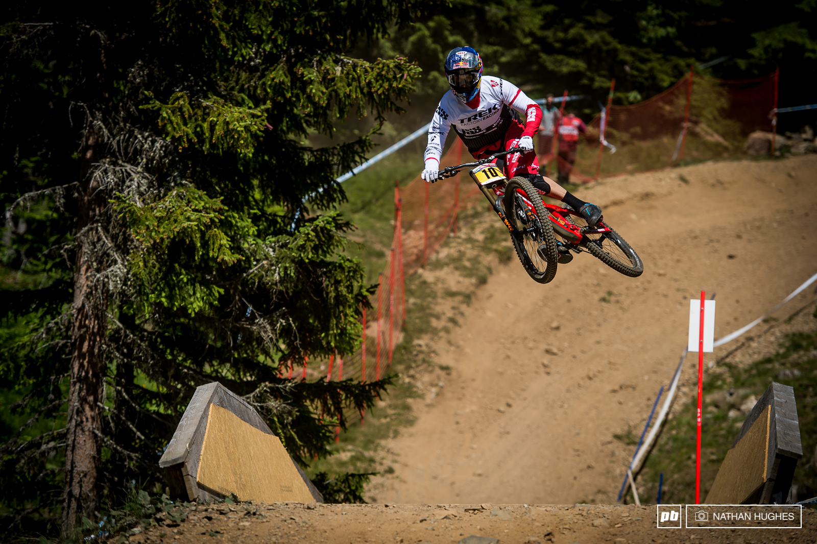 Gee Atherton sending it with some style and the yellow team leaders plate.