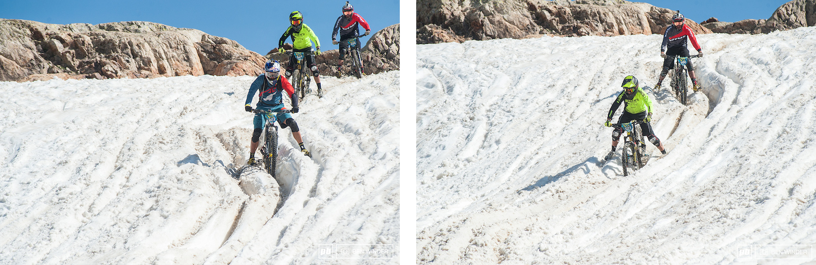 Matti Lehikoinen said that bike skills don t matter once you hit a rut like this one you ve just got to get through it with your legs off. He was fastest here at the top but dropped back to 4th. . Cedric Ravanel Green Commencal kit took the win in this heat.