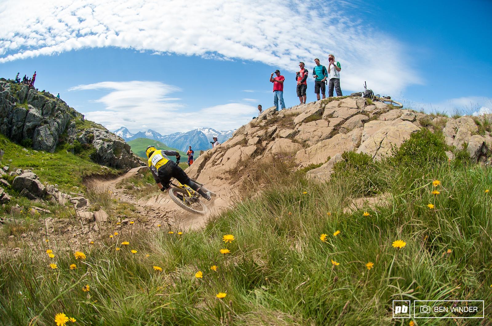 Nico Quere won his heat powering through this super fun bit of trail.