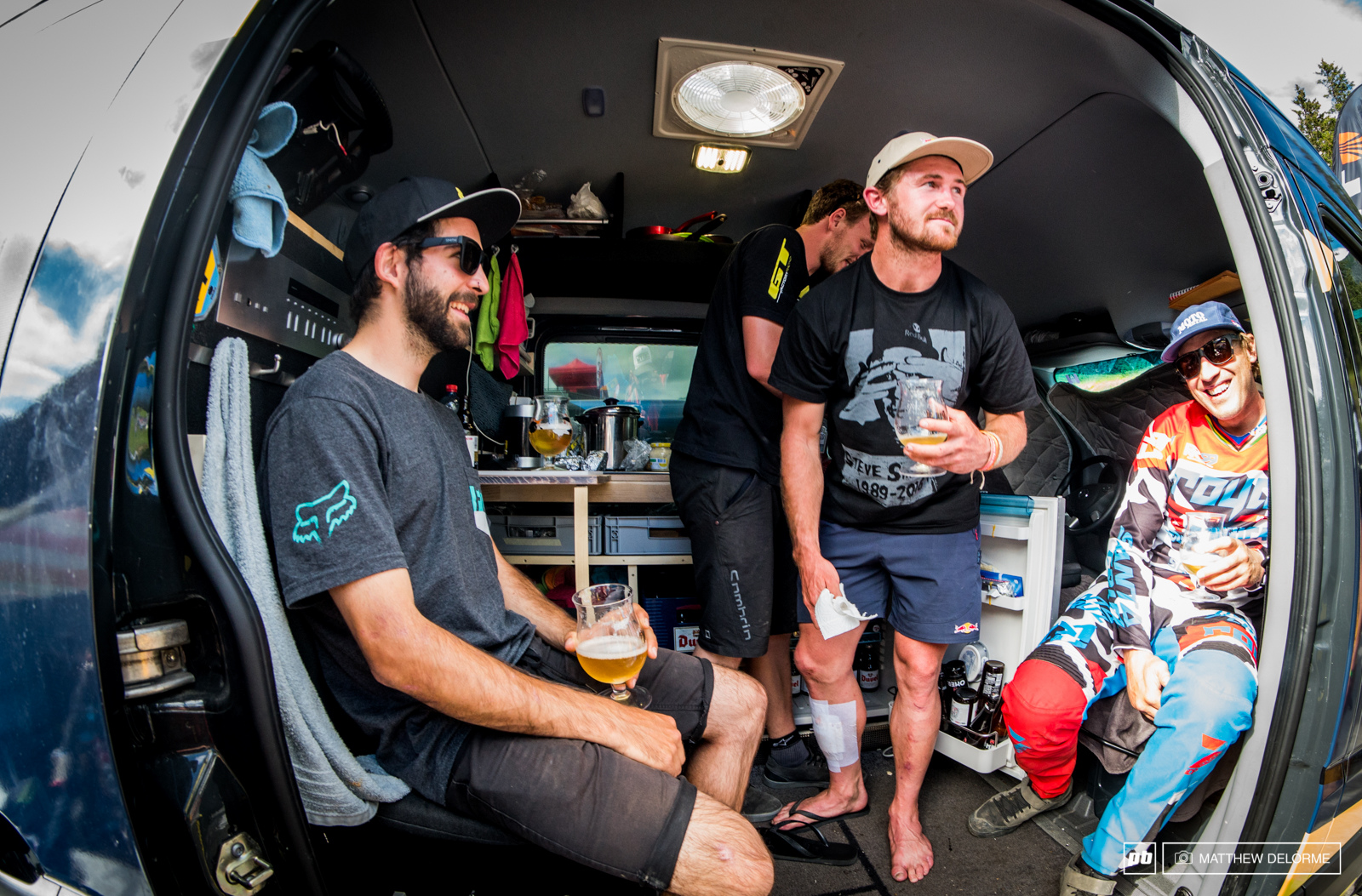 It was good times post race at the GT pits as Brook Peaty and Iago all enjoy a little post race beer.