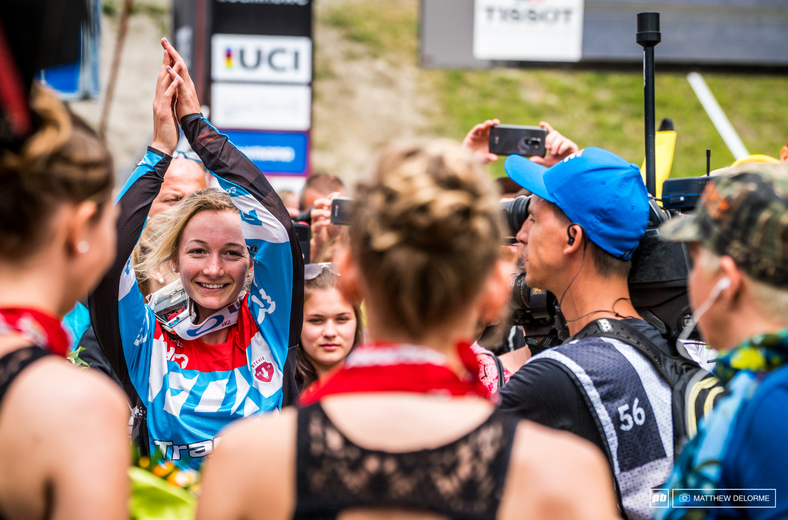 Tahnee Seagrave has reason to celebrate. She took second today and closed the gap on Rachel.