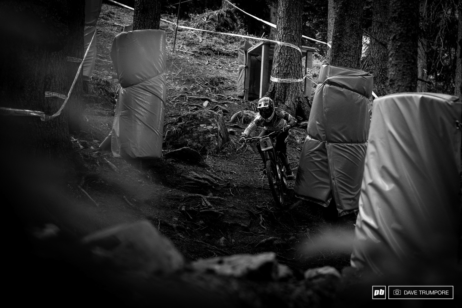 Tracey Hannah was looking fast all weekend but would crash in the final just below the big road gap.