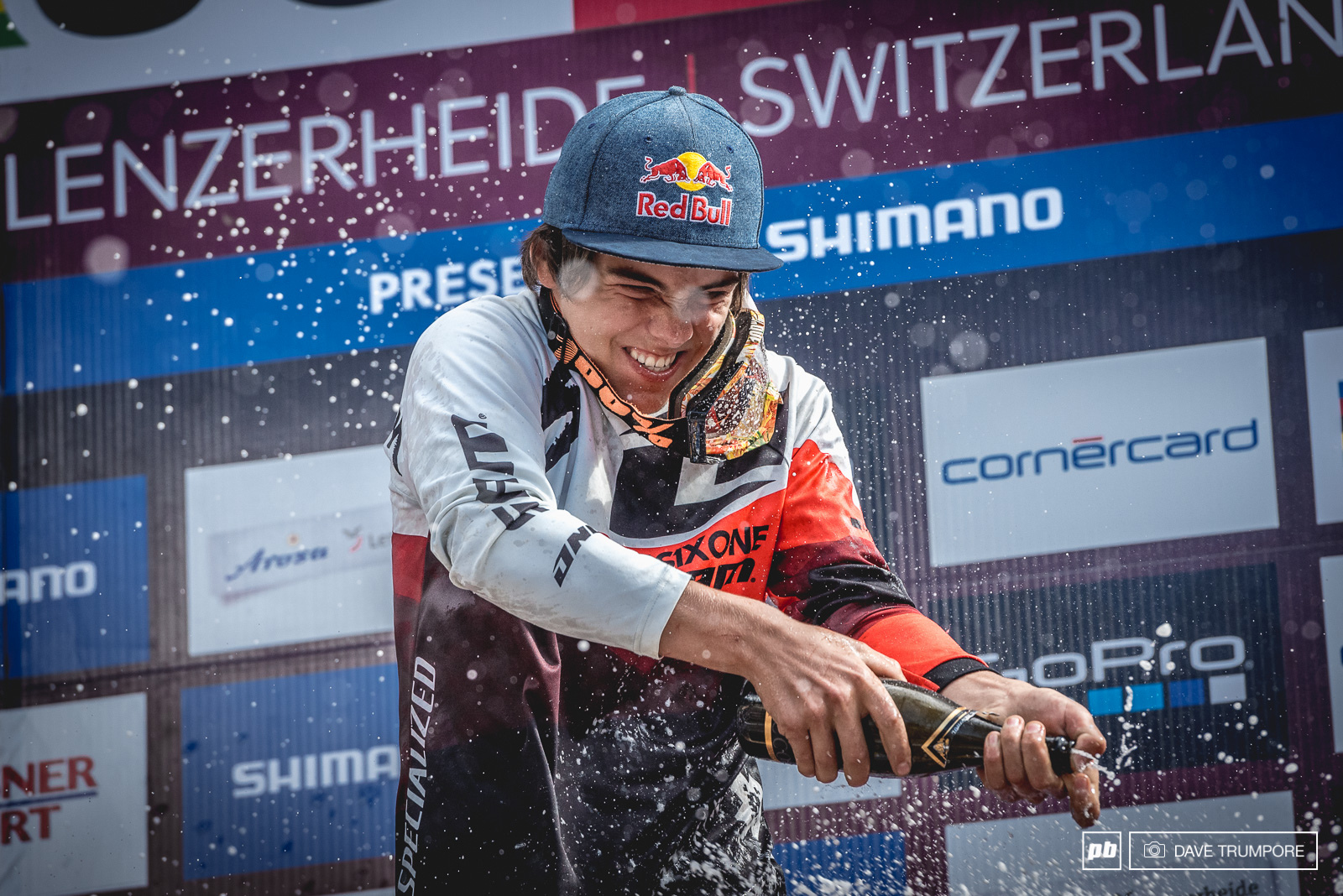 This was the first time the Juniors were given champagne on the podium and Finn had no trouble making it rain.Commencal