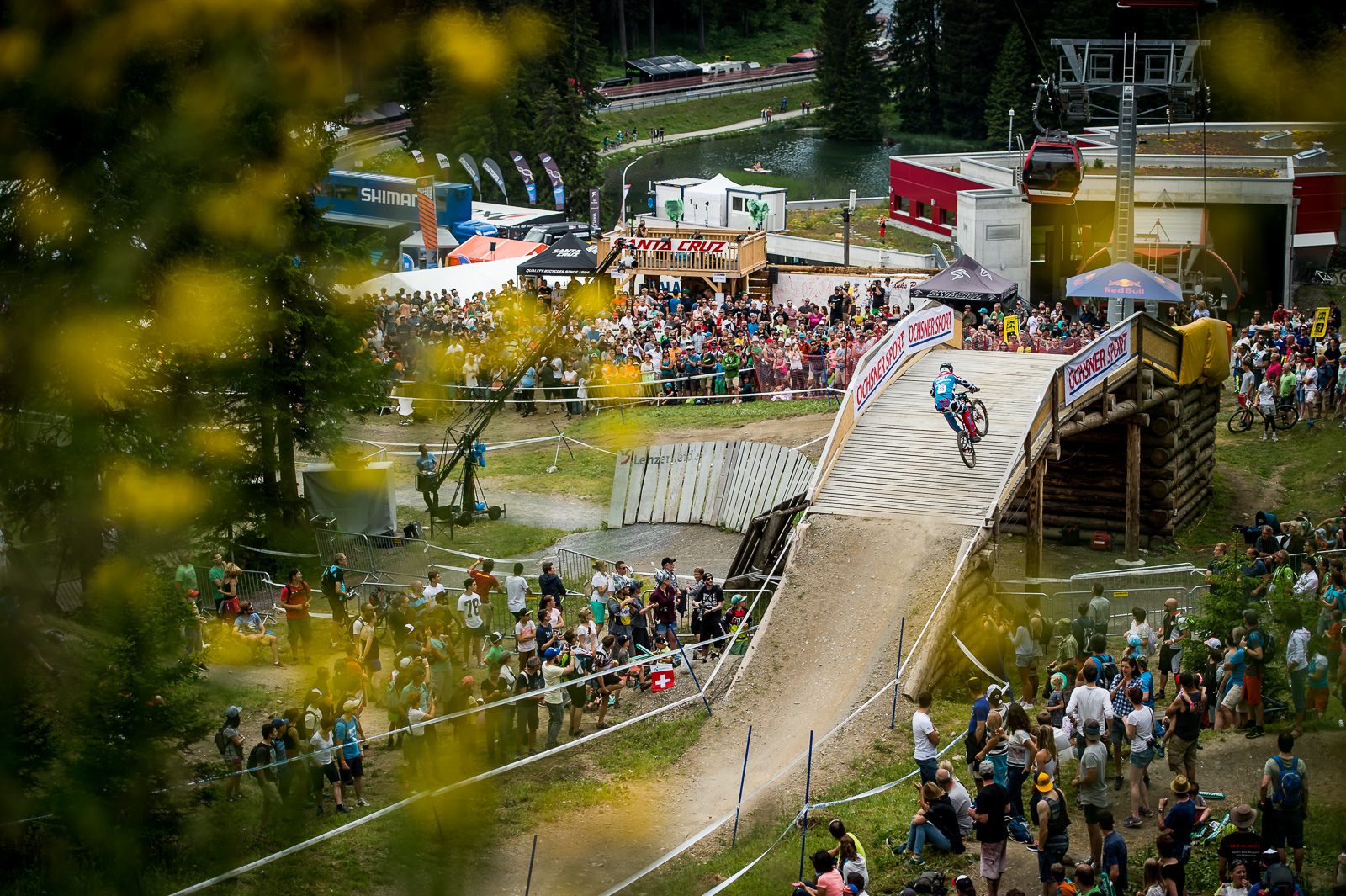 Build a bridge get over it... Steve Peat lives by the motto here in Lenzerheide on the course he helped to design.