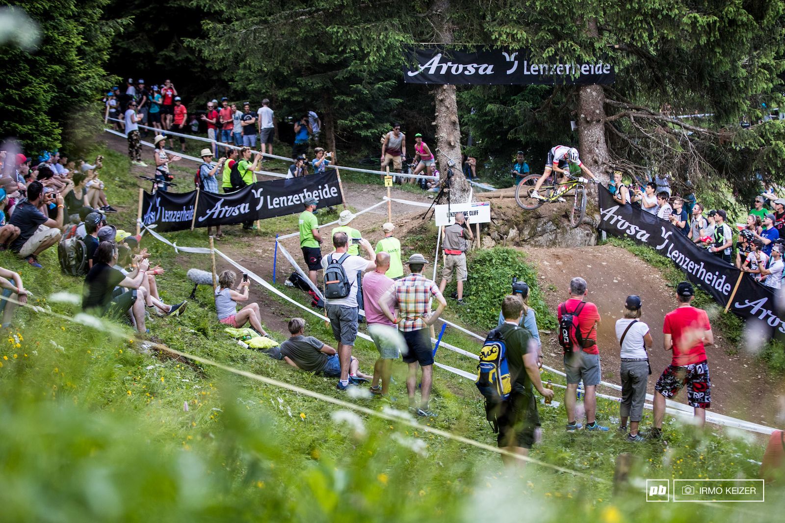 Schurter pleasing the crowd. The course in Lenzerheide might not be the most technical but physically it is demanding.