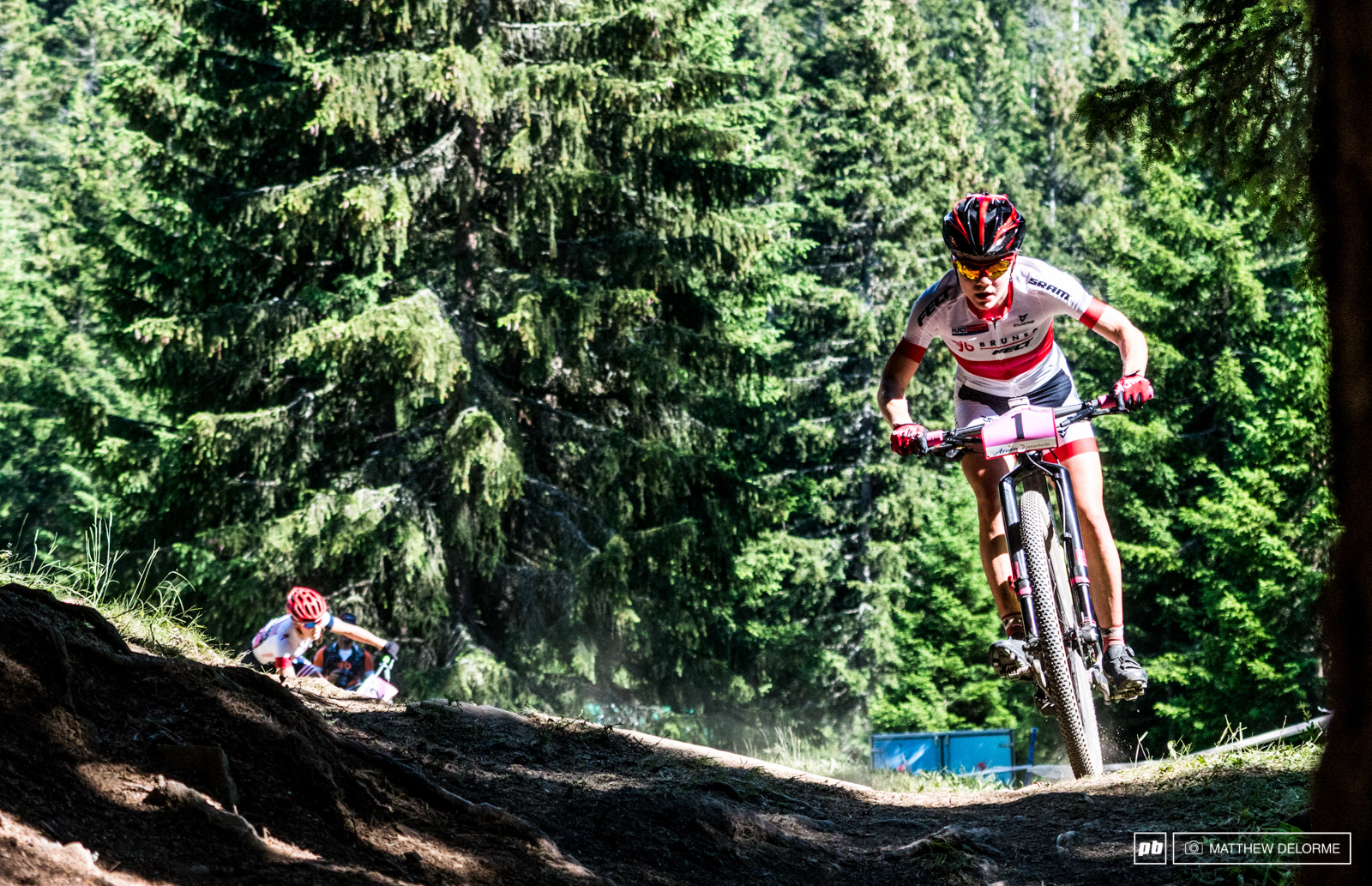 Sina Frey was back on the gas again in Lenzerheide and retained the leaders jersey after another win.