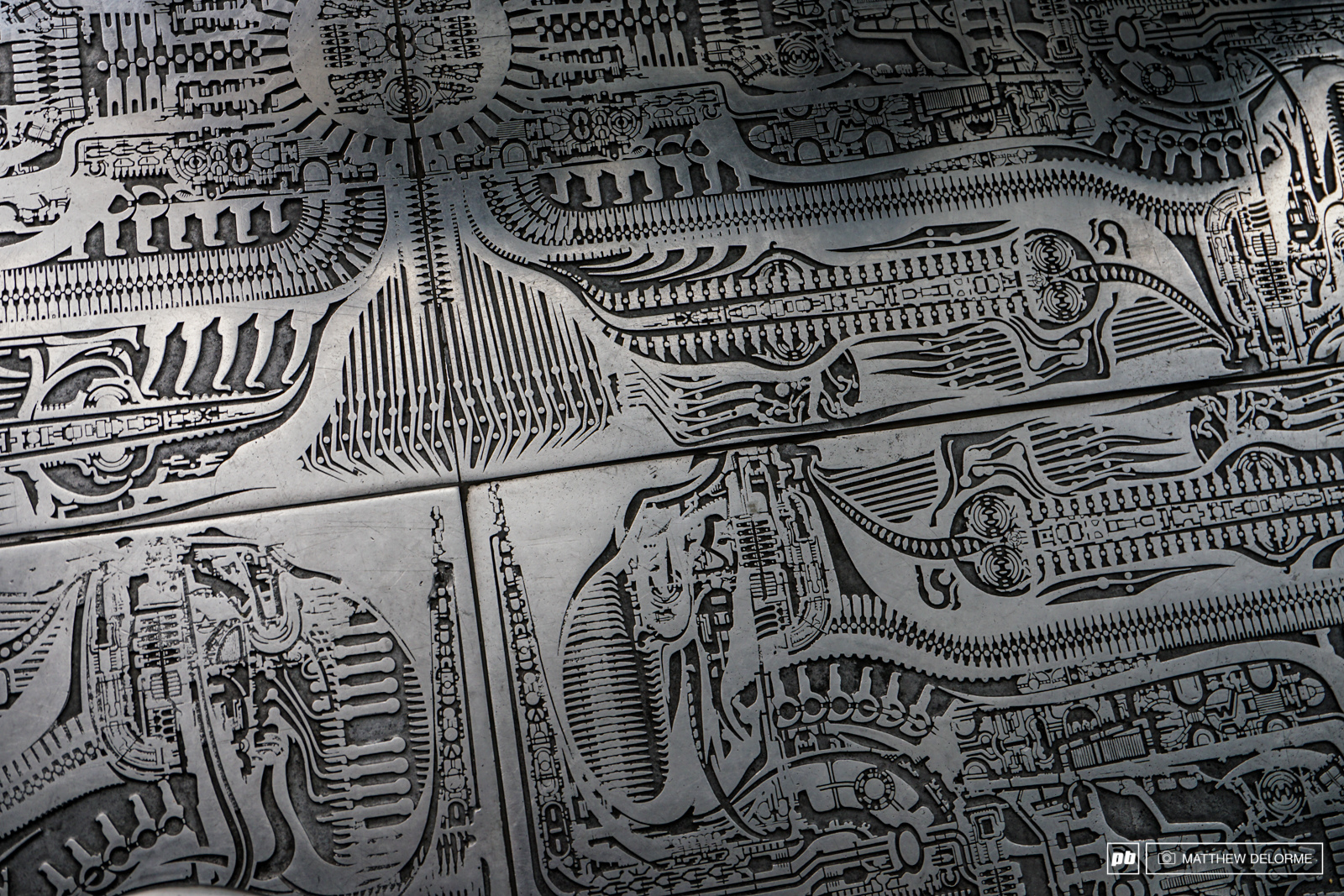 Crazy detail in the metal floor tiles of the Giger Bar.