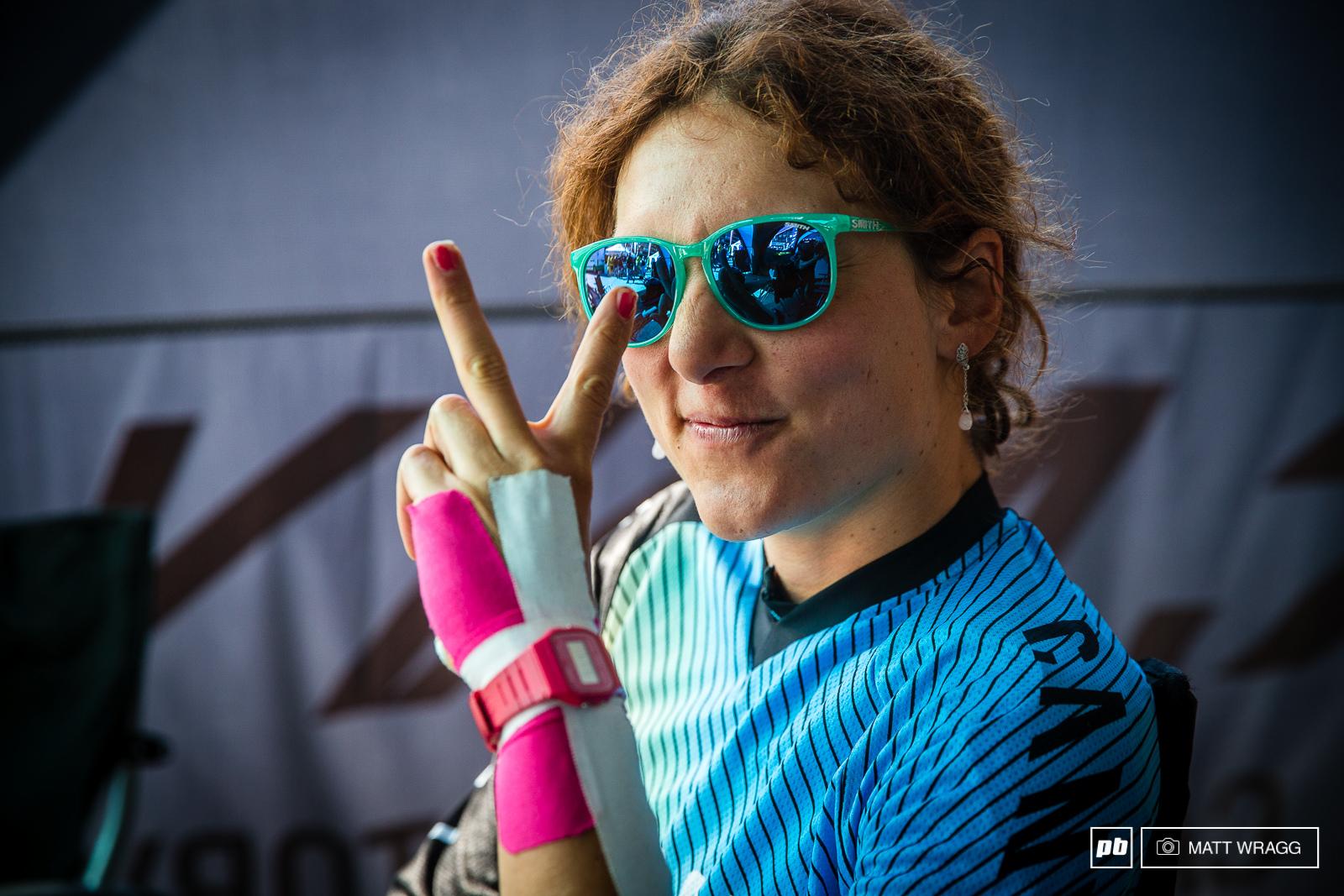 Ines Thoma has some slightly sore ligaments in her wrist but she was feeling good to race this morning.