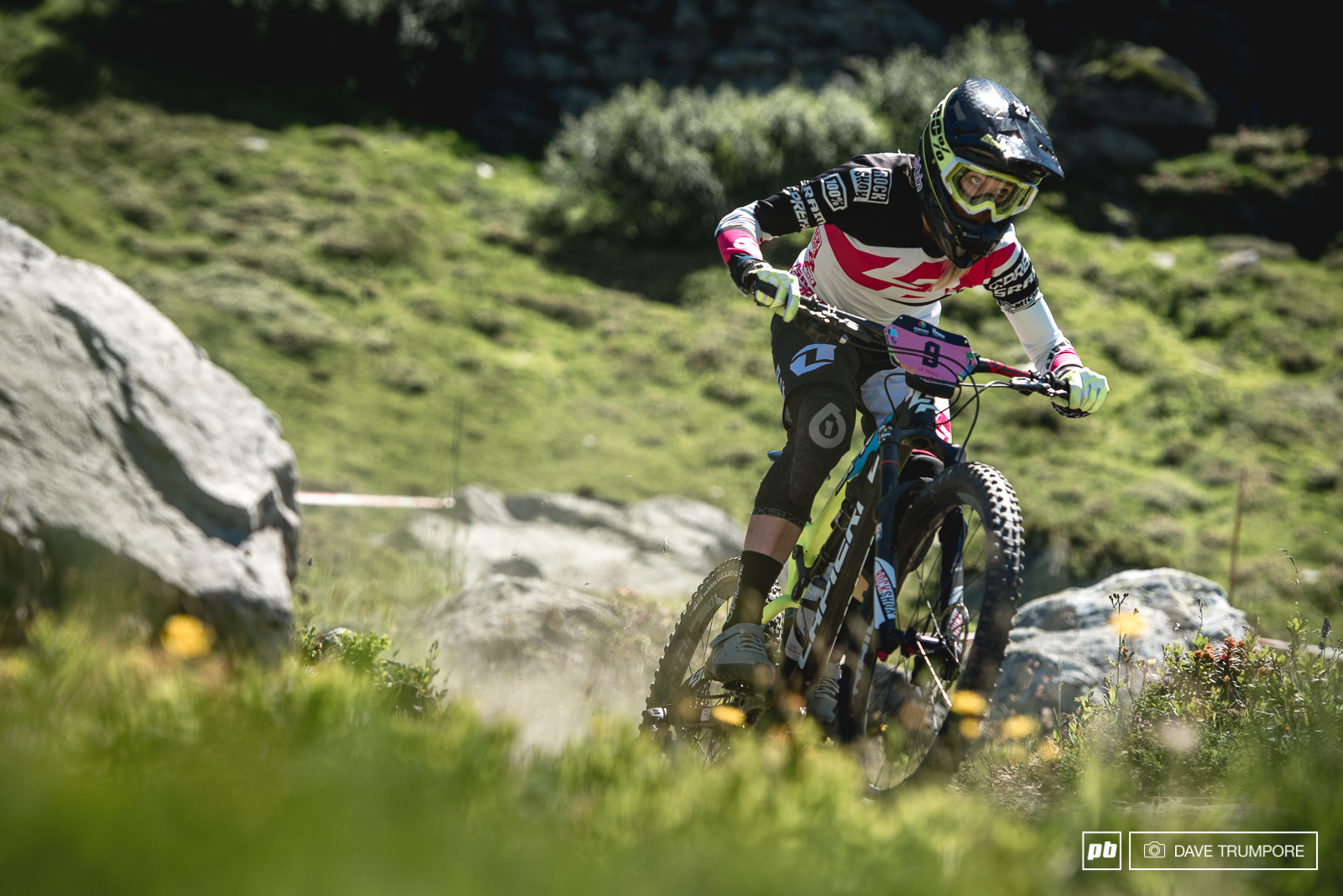 Rae Morrison looked super smooth on the steep switchbacks of Stage 1 but a crash in the lower woods would cut her day short with a shoulder injury.
