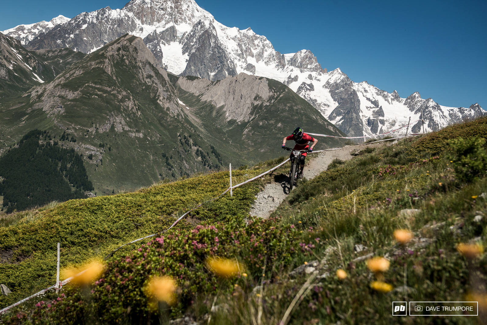 Troy Brosnan is having fun on the long DH oriented stages many of which descend close to 1000m with little or no chance to rest.