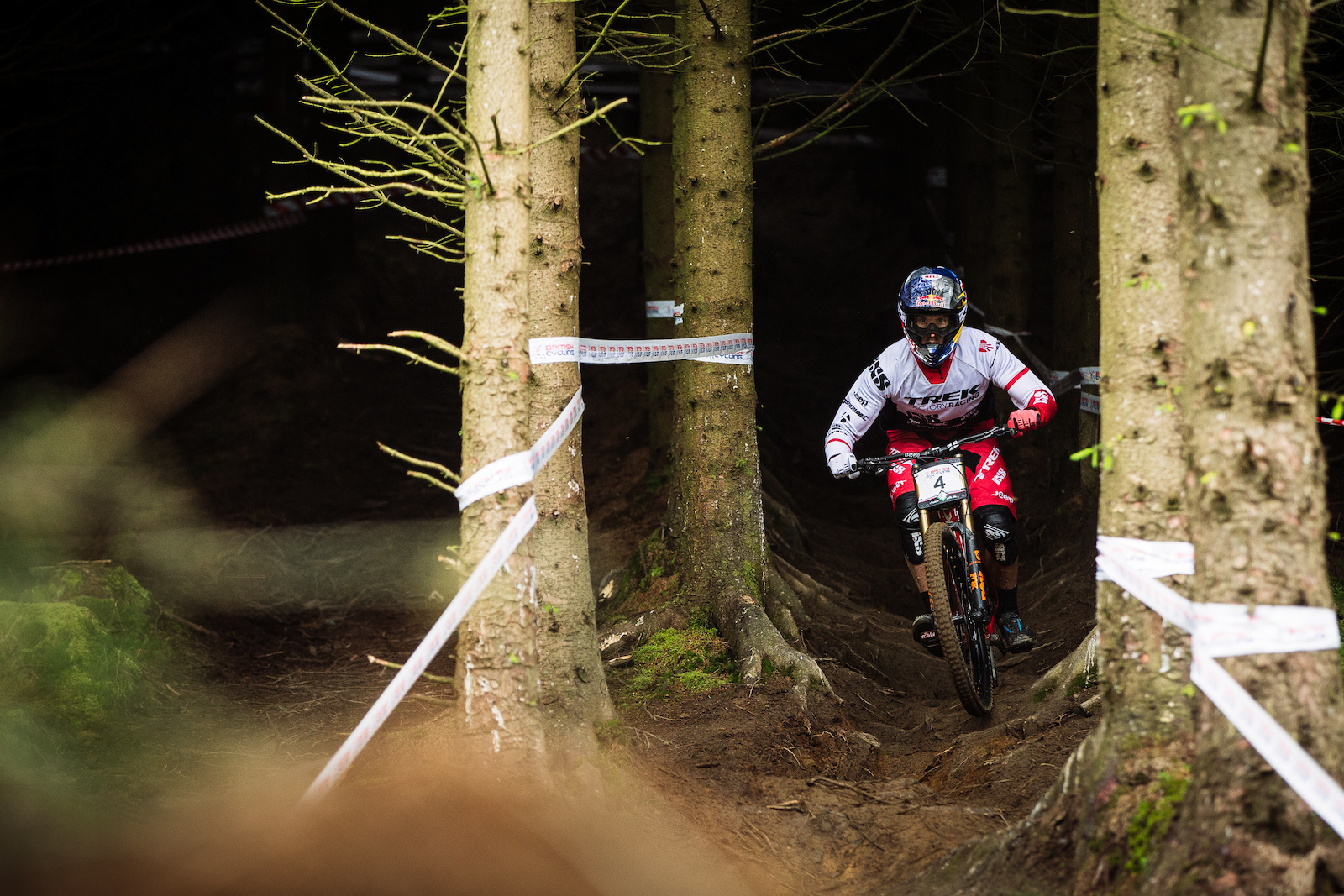 Gee Atherton struggled to get to grips with the Lenzerheide World Cup track where riding on the knife edge of control is where time is found. He is having no such problems in the Welsh forest at Revolution and set a high pace on track.