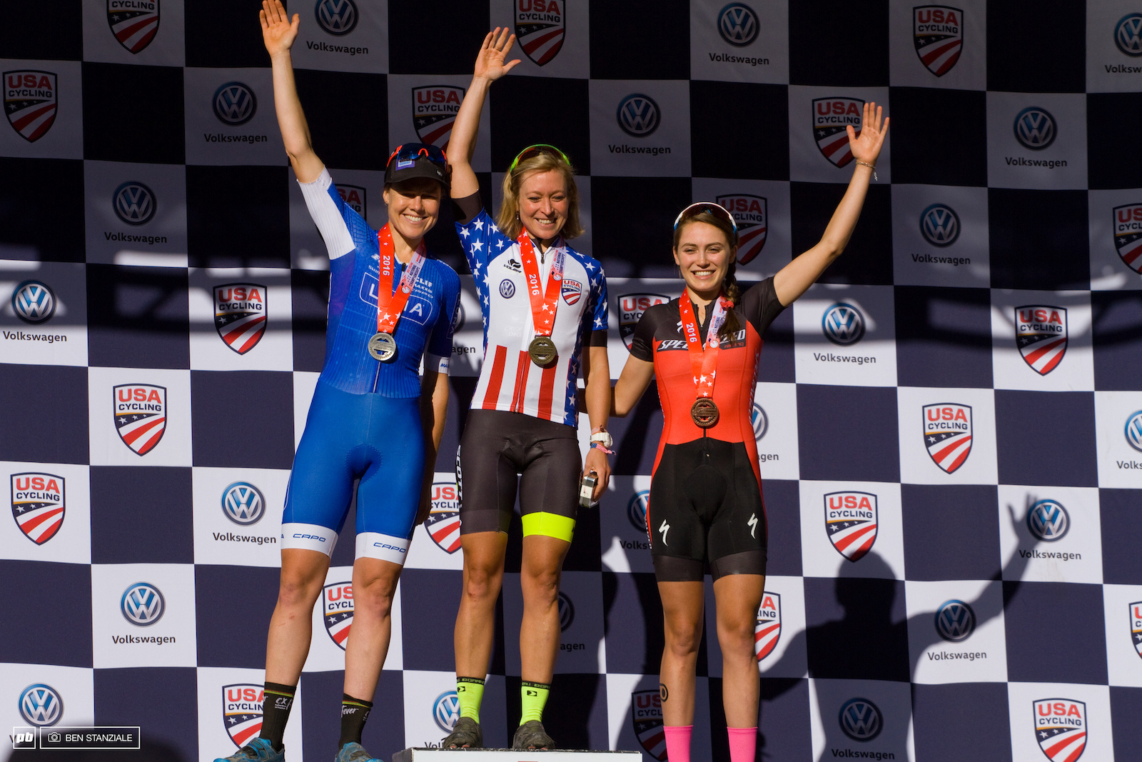 USA National Champion Pro Women Short Track XC Podium 1st- Erin Huck. 2nd- Georgia Gould. 3rd- Kate Courtney.