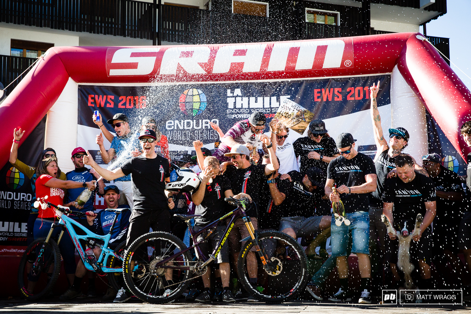 The team podium is always a slightly crazy end to the weekend - it is the chance for the mechanics and team managers who work so hard to get the riders out there and racing to join them on the stage and take their moment in the sun.