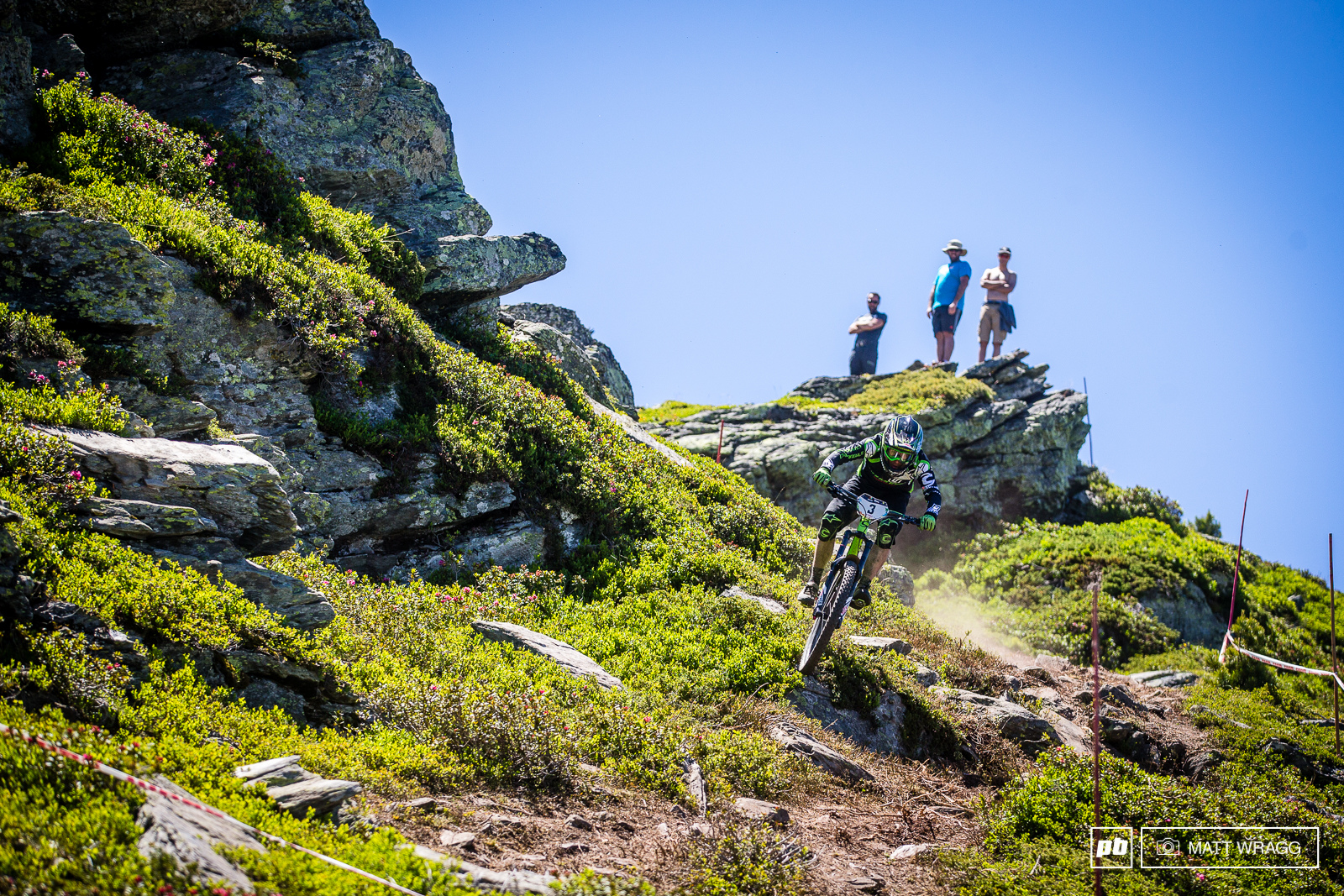 Jerome Clementz is still the master of reading the terrain - few other riders spotted this high line that kept him out of the chattery rocks below. Ninth this weekend for the 2012 champion.