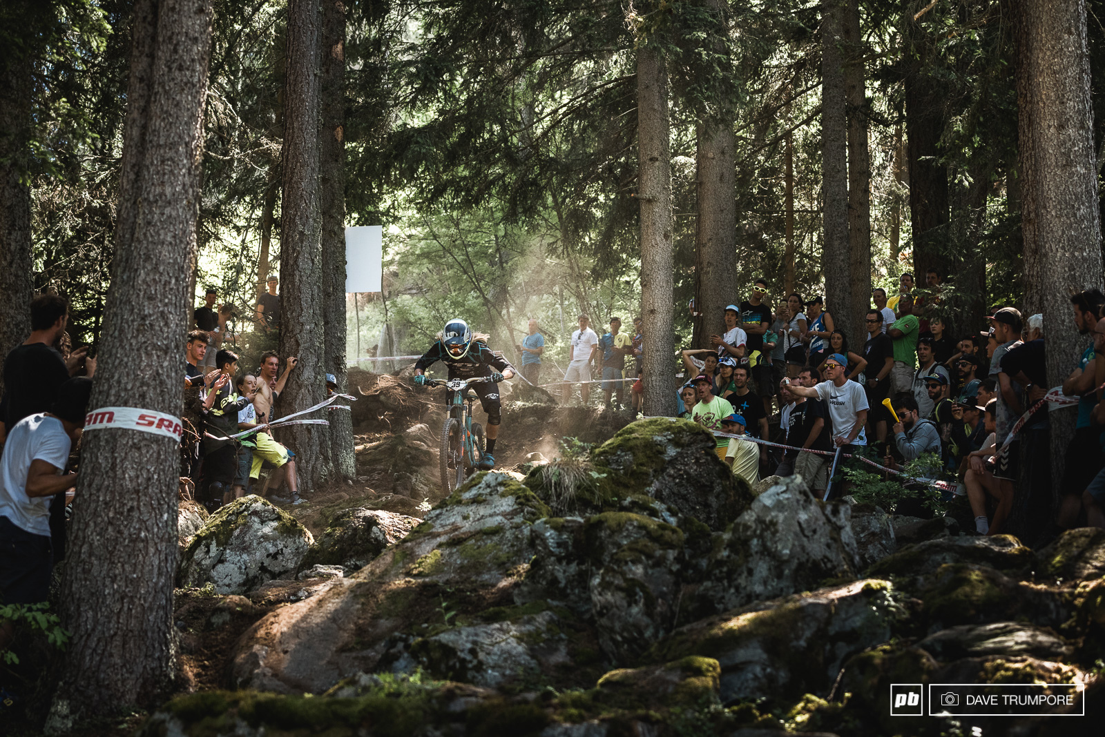 Cody Kelley points it through the rock garden as the crowd starts to build at the bottom of stage six.