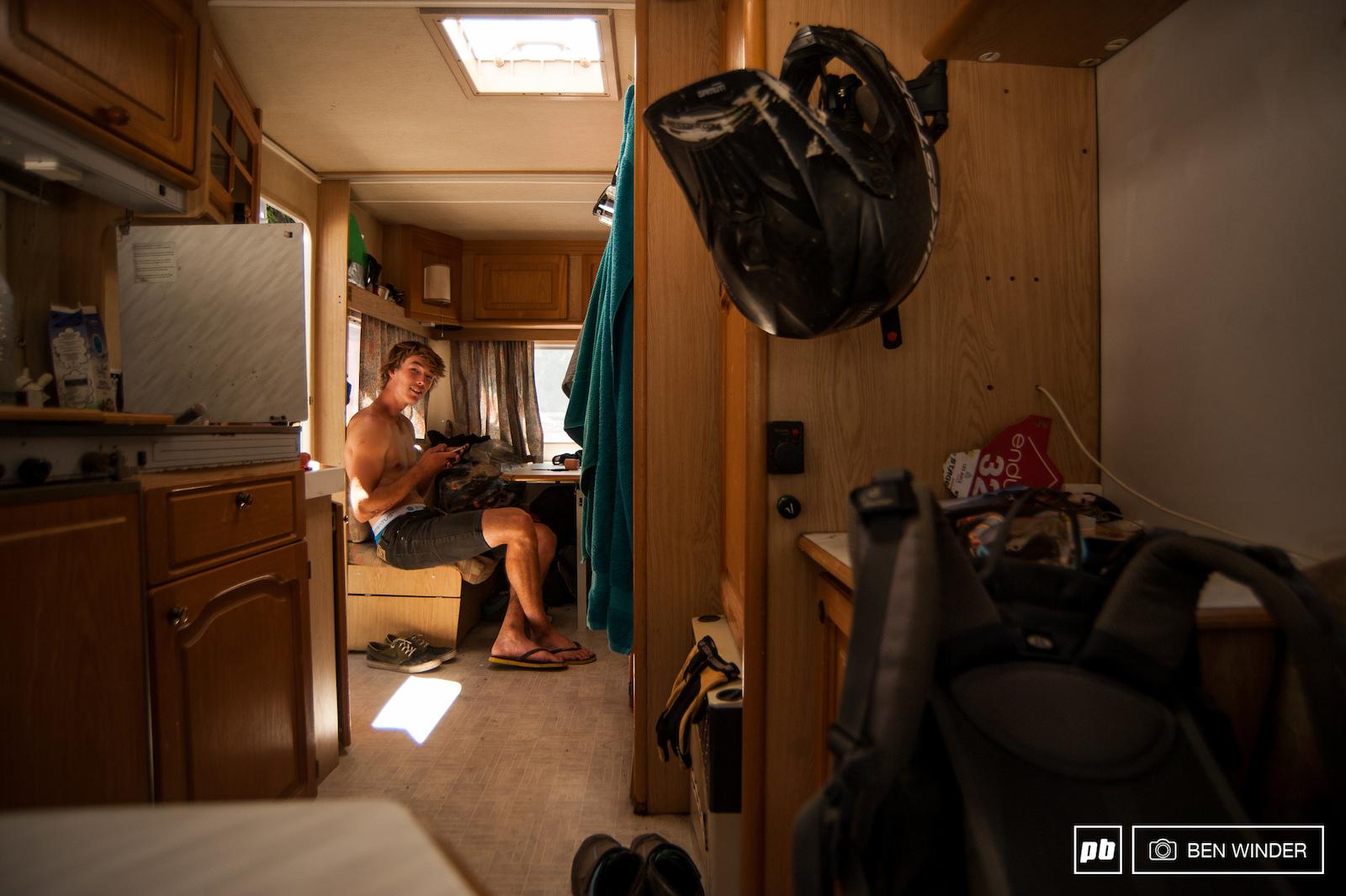 Fred in his caravan.