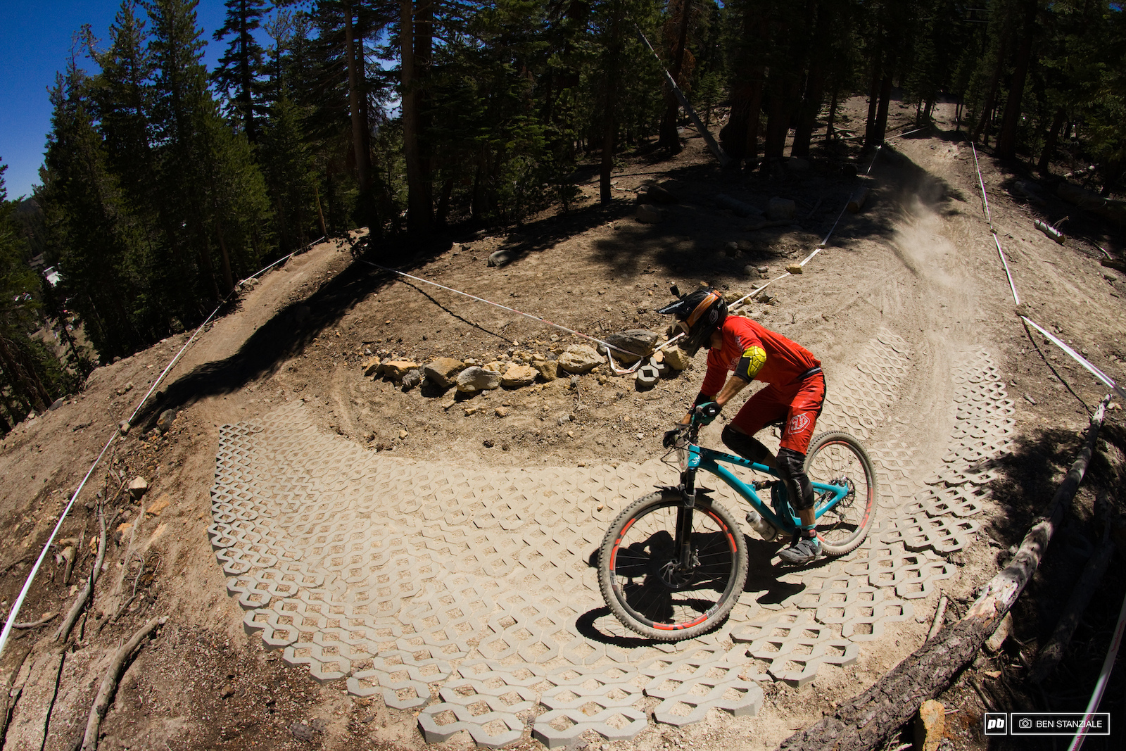 Riders continue down Stage 3 filled with a mix of turns and pavers rough straight sections and a slalom section.